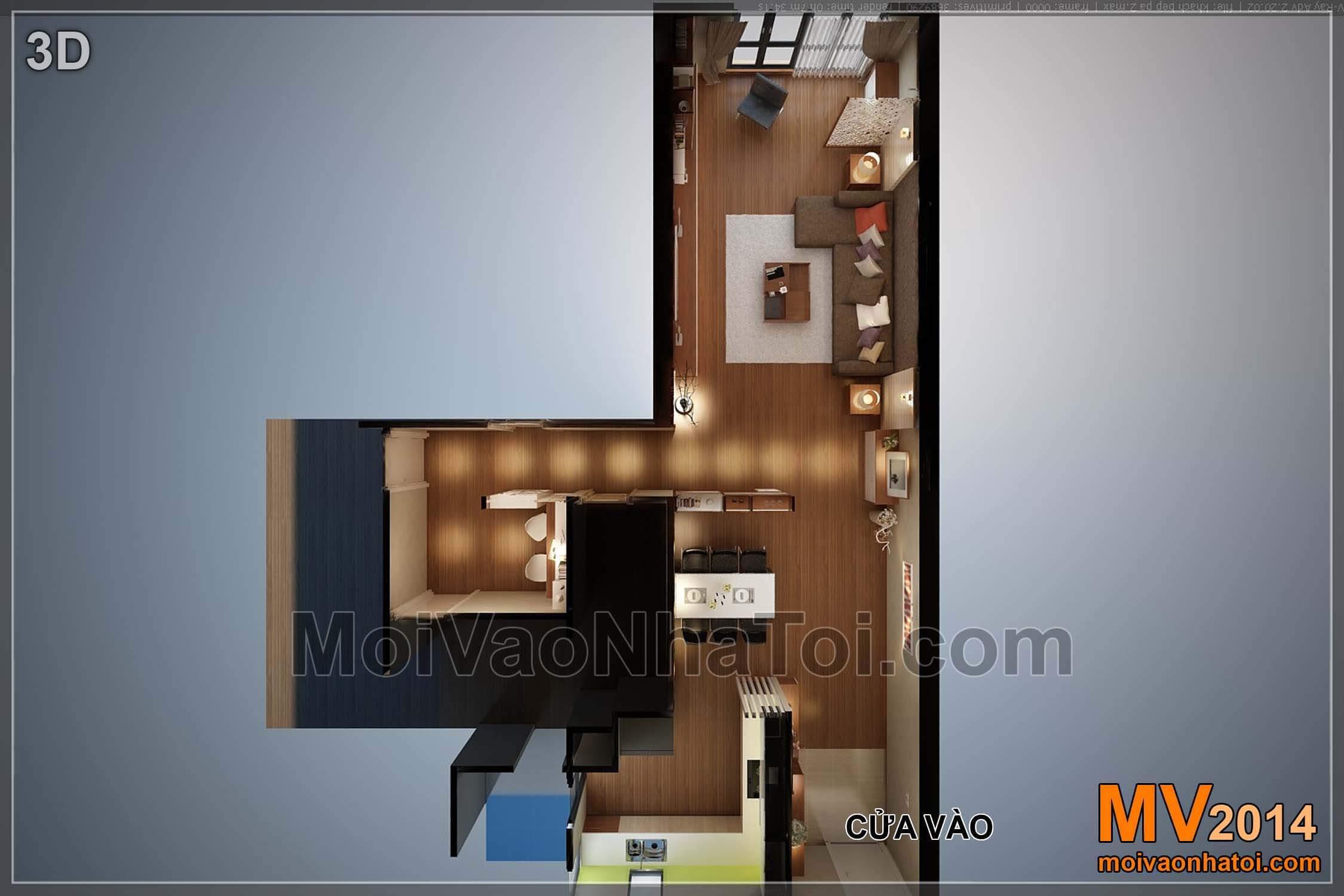 Mặt bằng phối cảnh 3D phòng khách bếp nhìn từ trên xuống