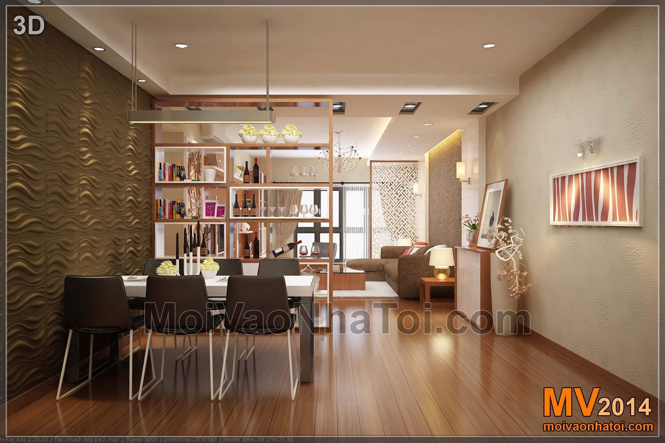 Từ phòng ăn nhìn sang phòng khách - Thiết kế 3D