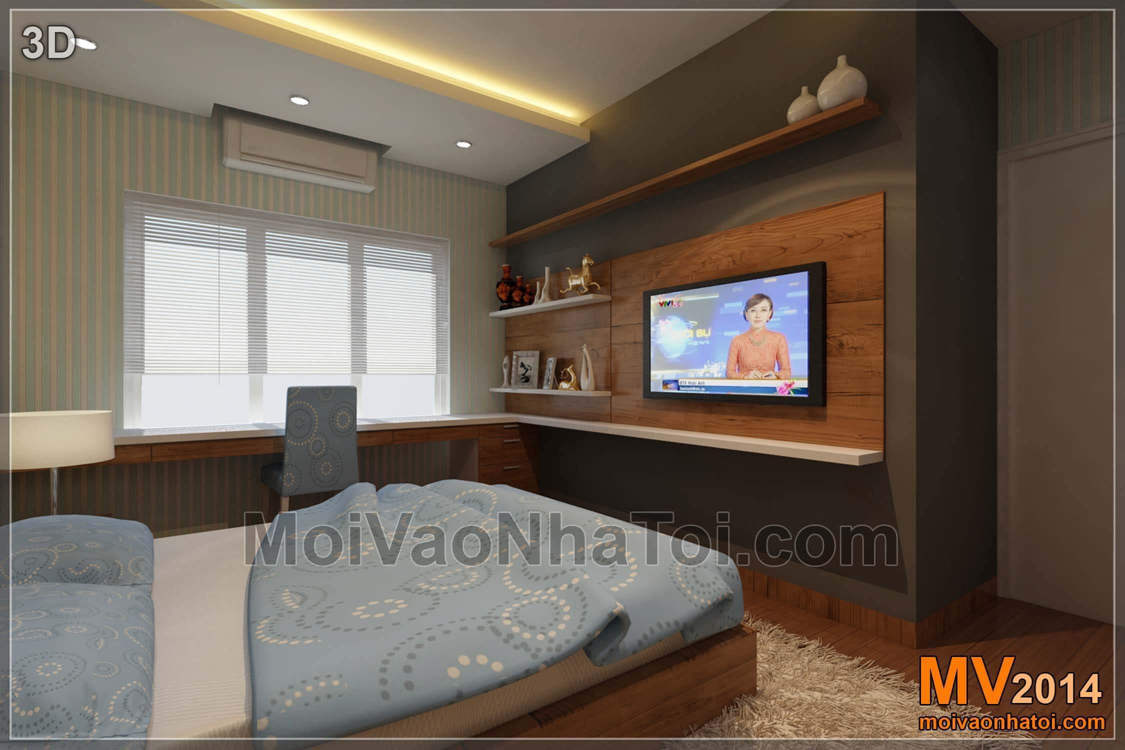Mảng ốp gỗ TV phòng ngủ con - Thiết kế 3D