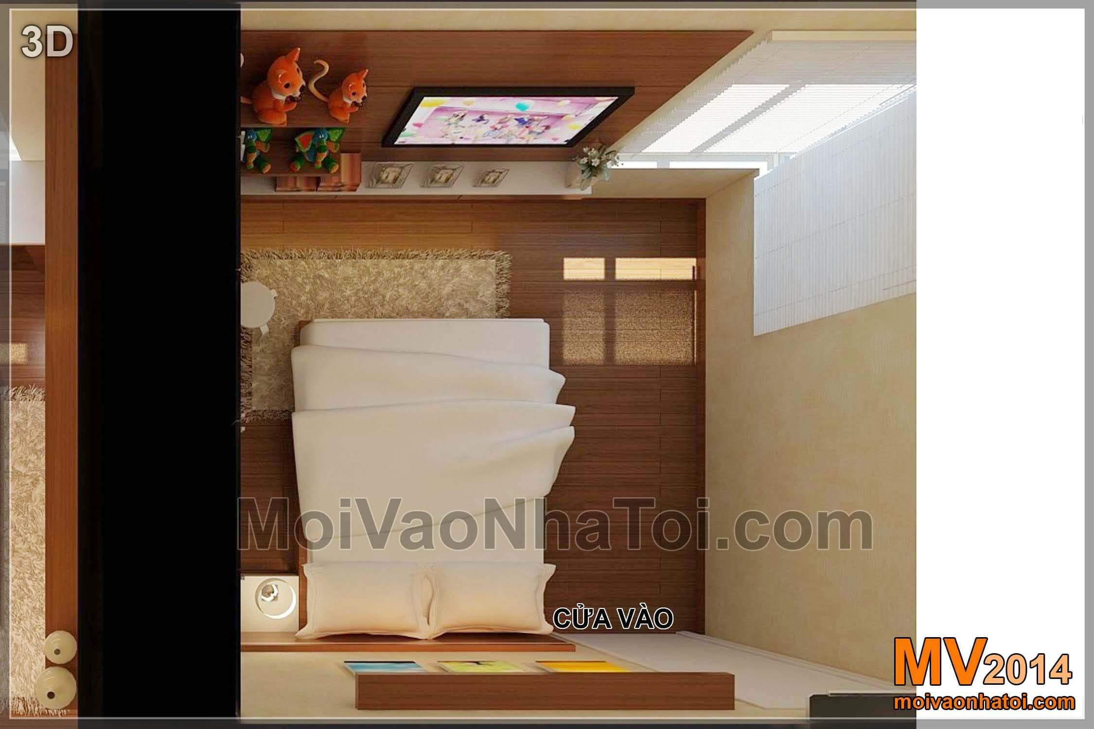 Phòng ngủ 02 - Phòng ngủ con gái - góc nhìn từ trên xuống