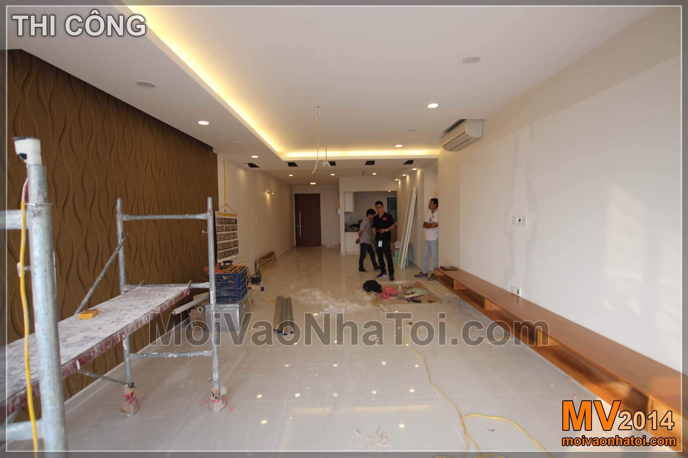 Phòng khách quá trình thi công nội thất