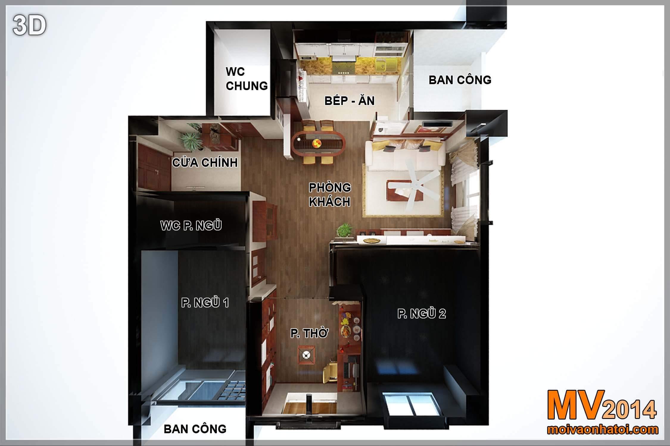 Mặt bằng chung cư Việt Hưng CT9 căn hộ 95m2