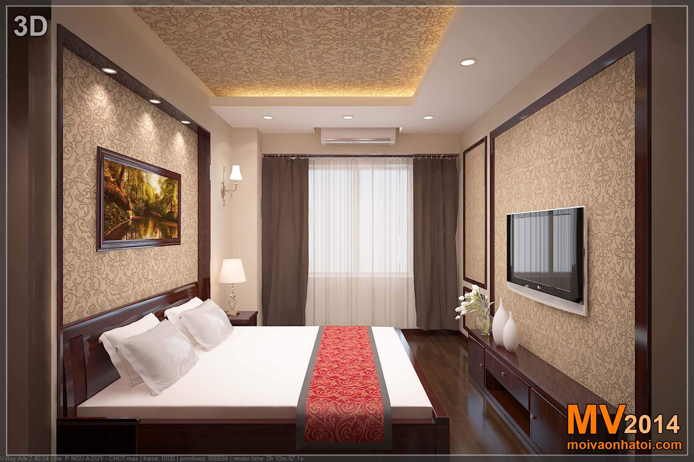 Phối cảnh 3D phòng ngủ lớn