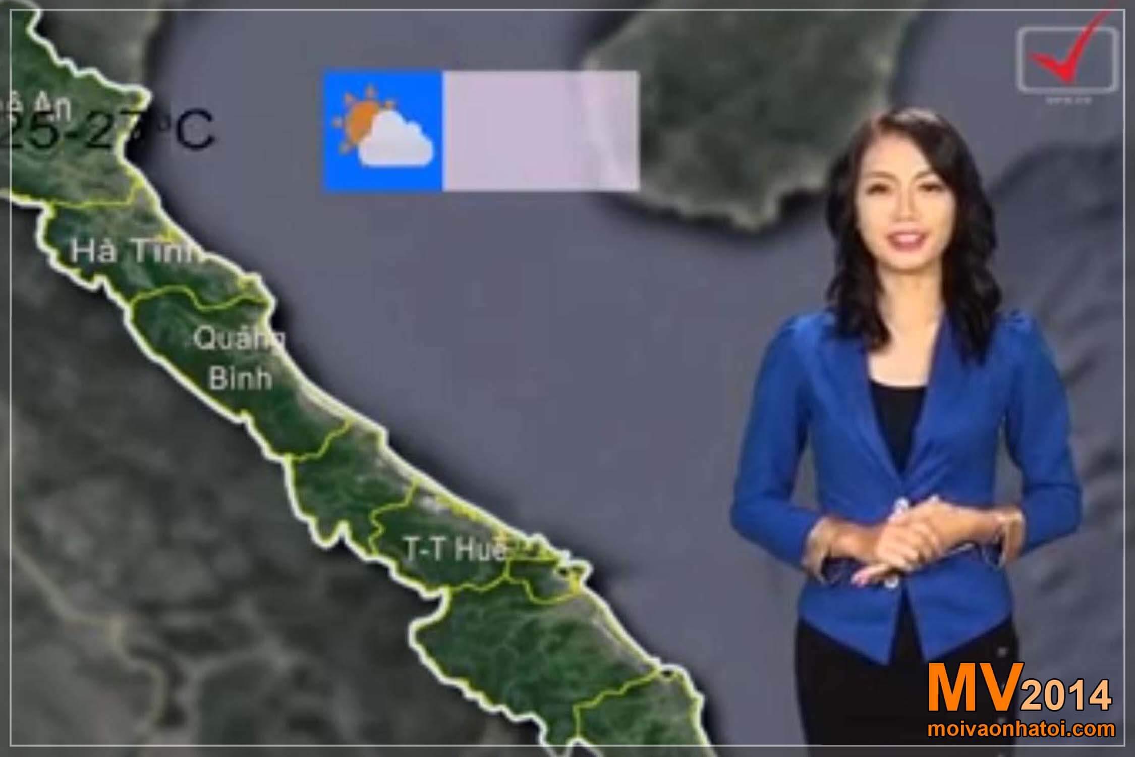 Vân Anh MC dẫn chương trình dự báo thời tiết VTV3