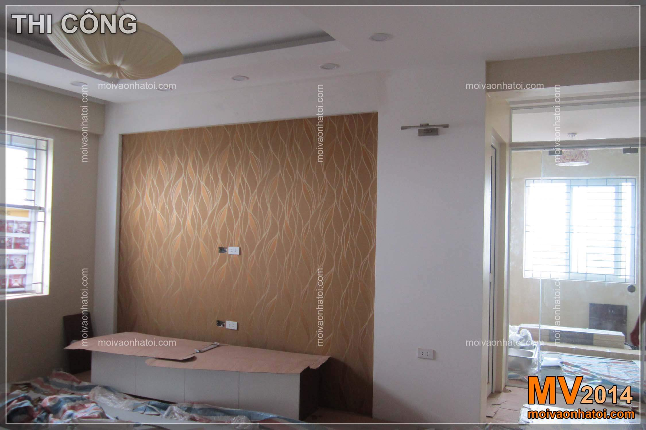 Quá trình thi công dán giấy dán tường