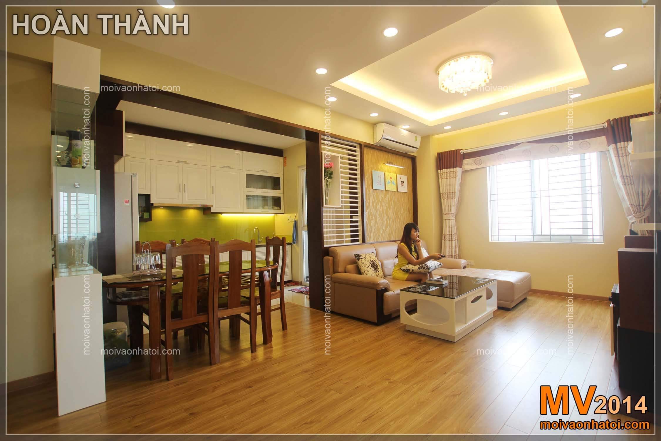 Chung cư Việt Hưng Phòng khách căn hộ sau khi hoàn thành