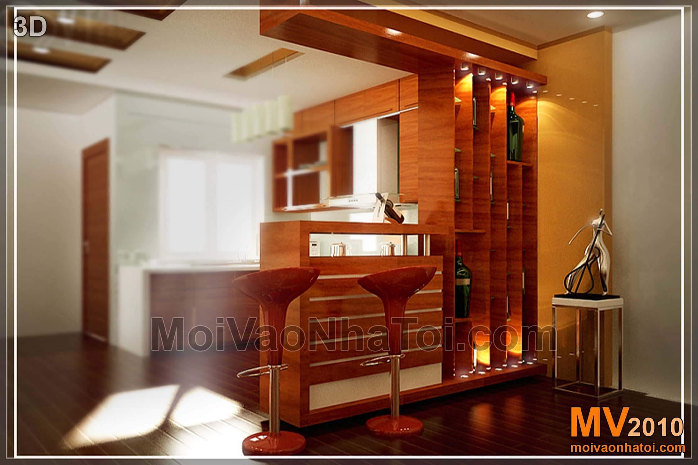 Tủ rượu trang trí phòng khách - Bản vẽ