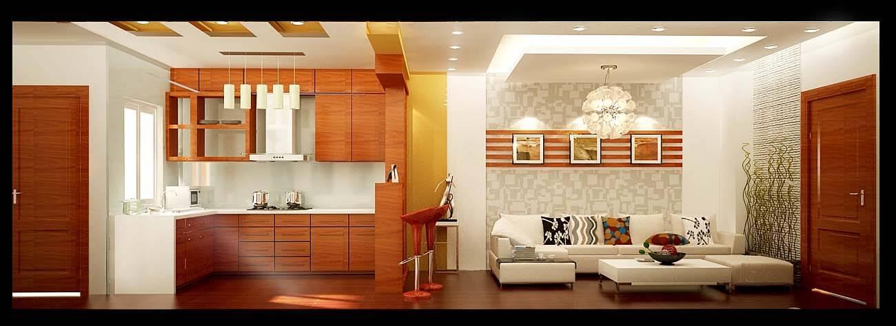 Mặt đứng cắt qua nhà (Bên trái: Phòng bếp - Bên phải nội thất phòng khách)