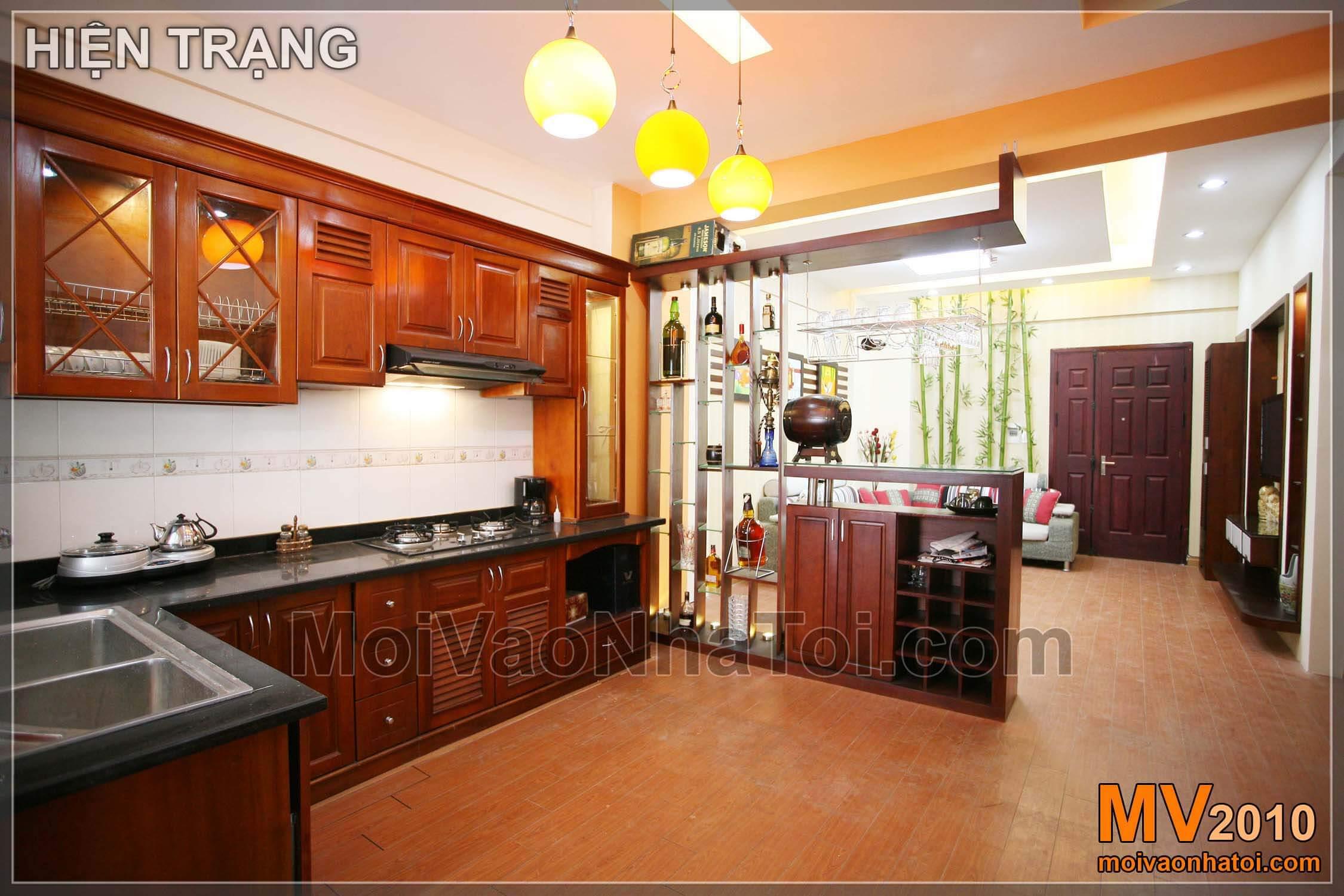 Sau khi hoàn thành nội thất chung cư - bếp đẹp nhìn ra phòng khách
