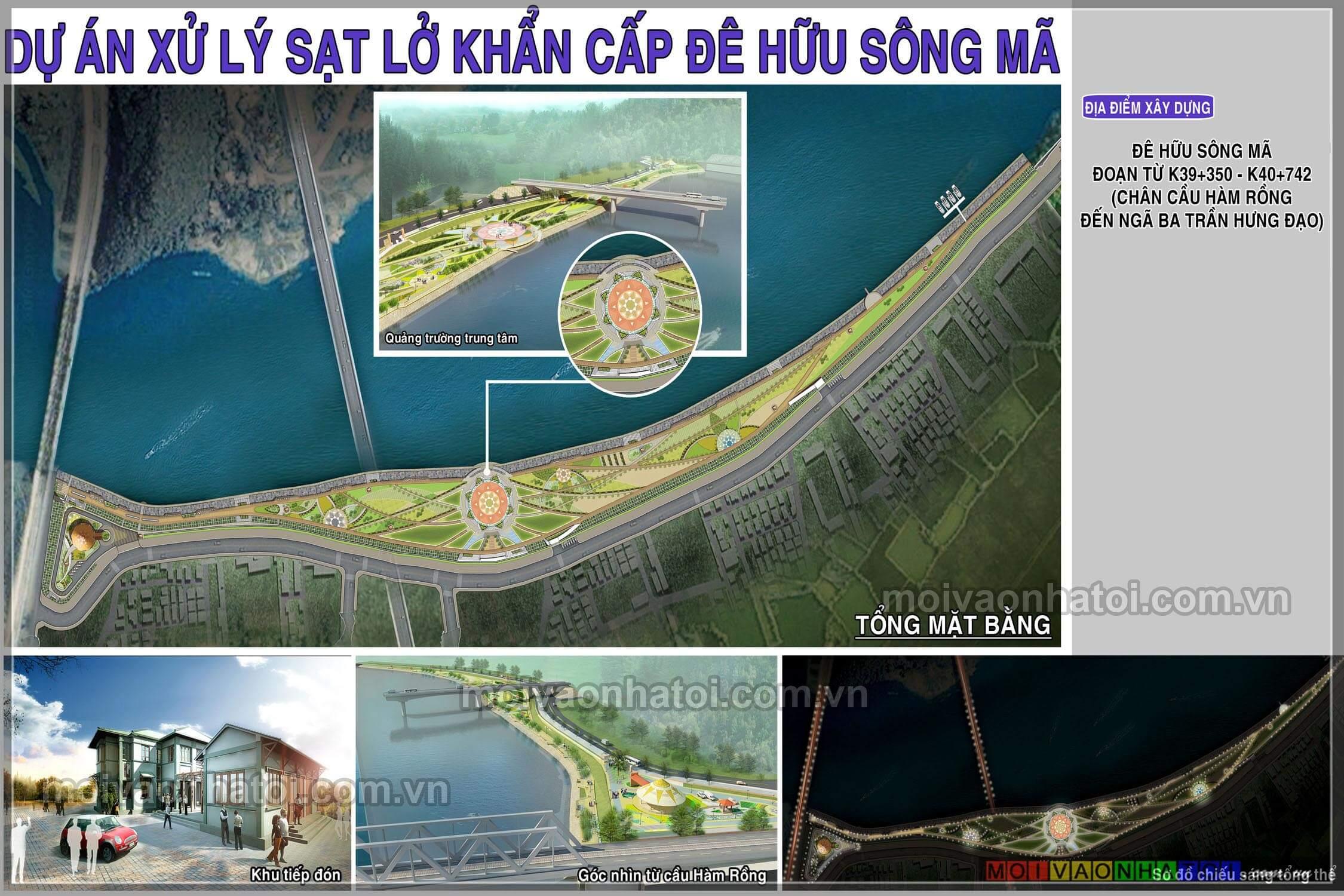 Thiết kế cảnh quan vườn hoa trên đê - cầu Hàm Rồng - Sông Mã - Thanh Hóa