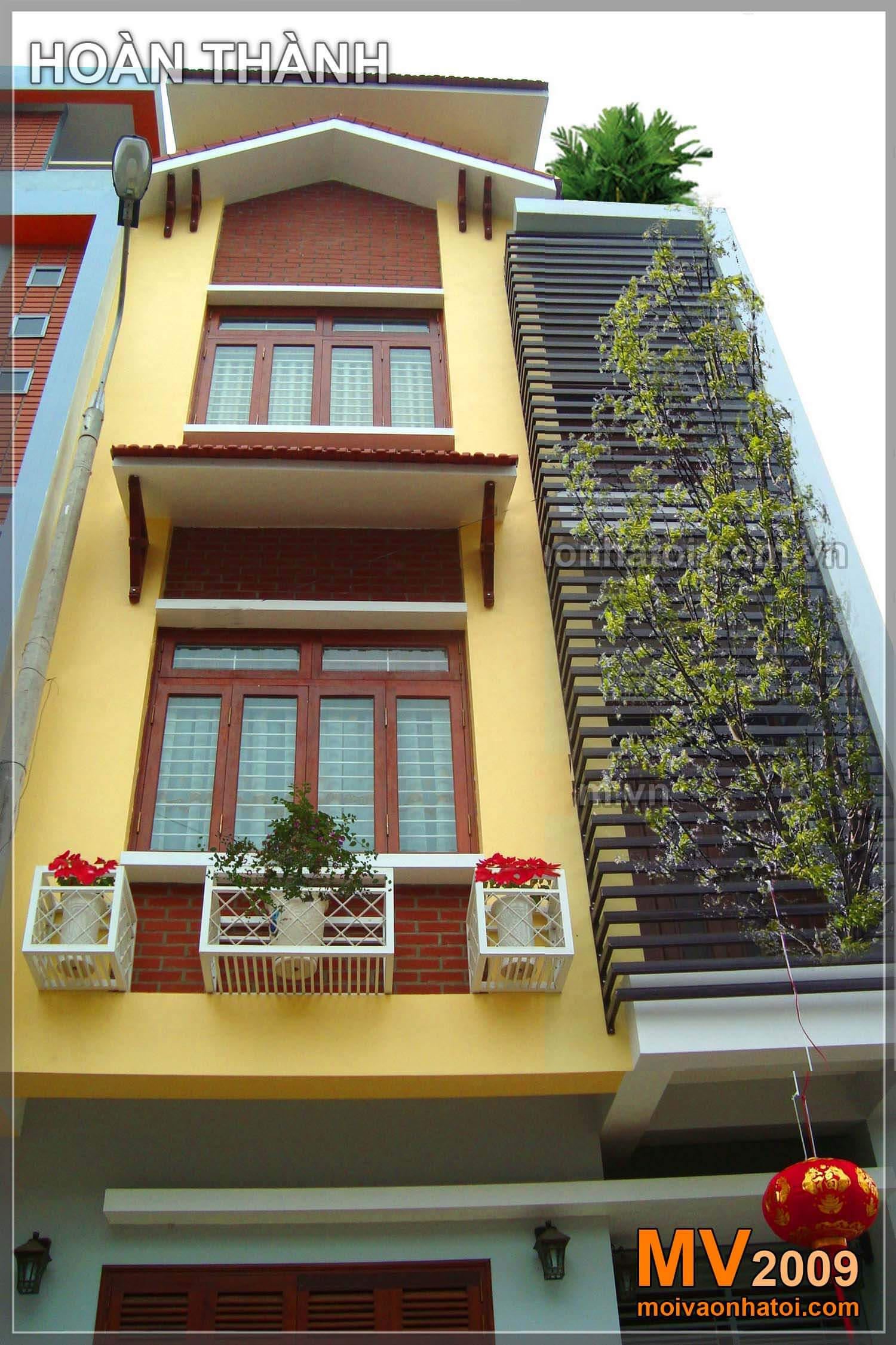 Hình ảnh mô phỏng mặt tiền nhà phố sau 1 năm trồng cây