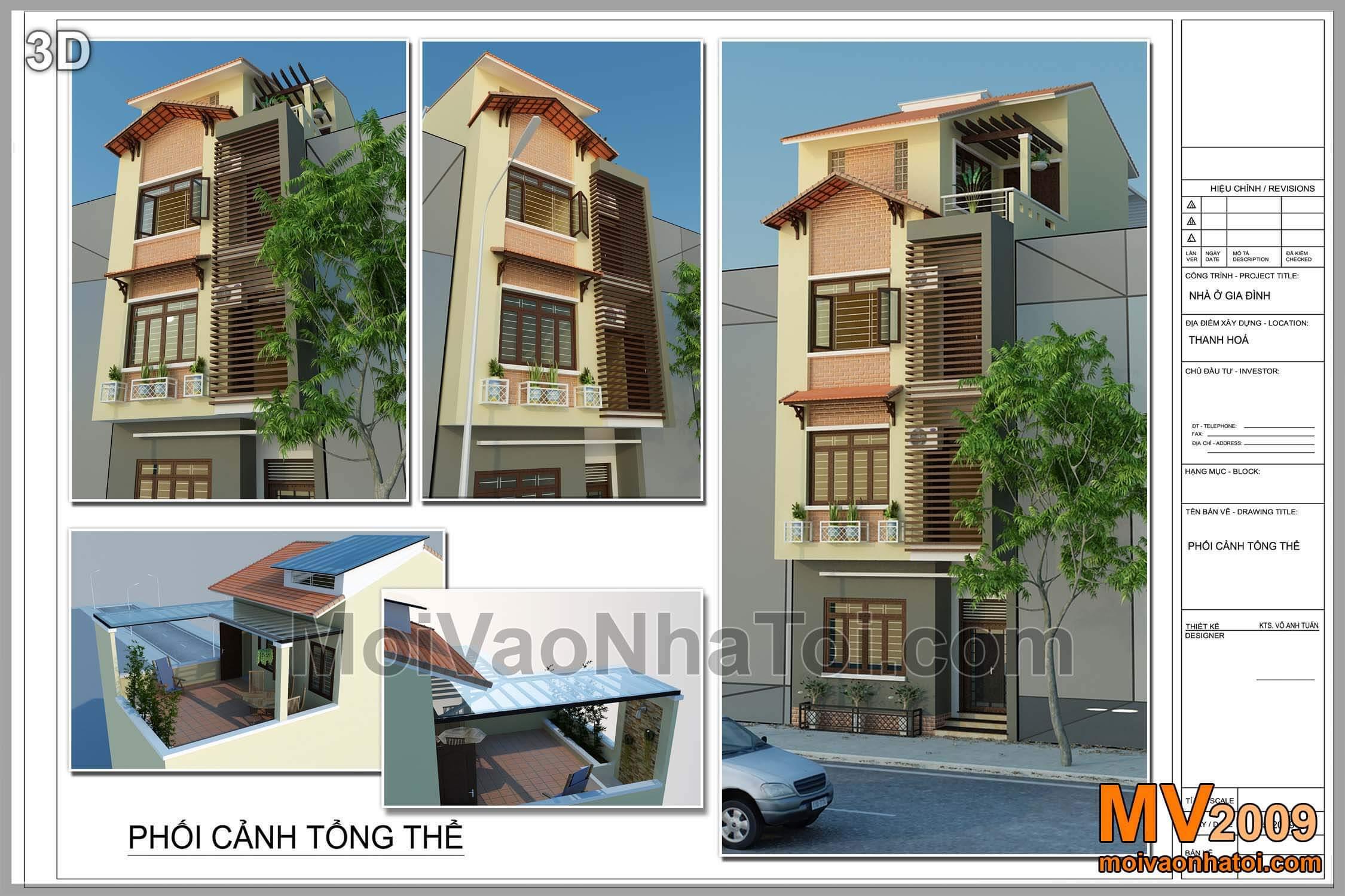 Thiết kế nhà phố đẹp mang phong cách nhà vườn 4 tầng x 70m2