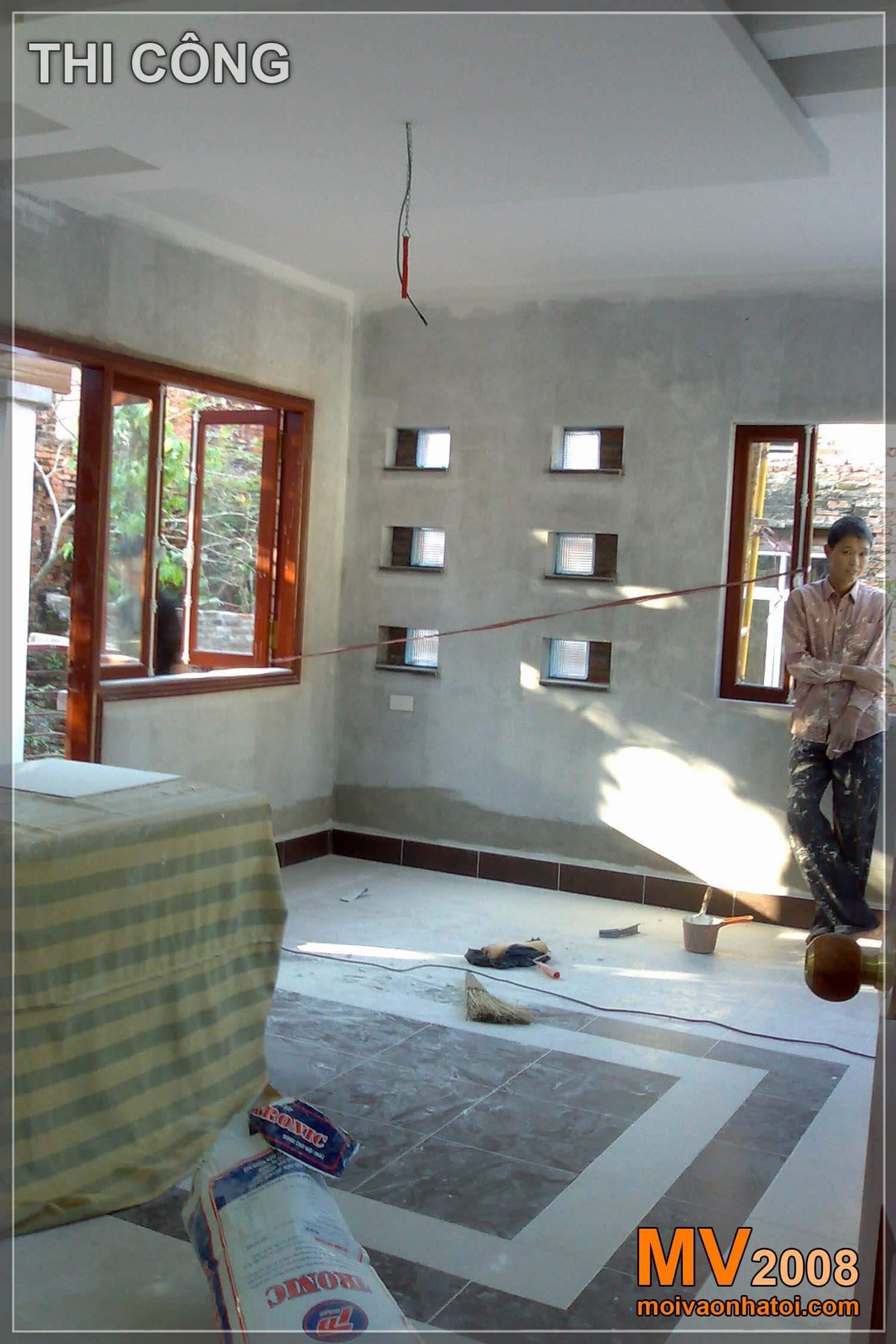 Quá trình thi công nội thất tầng 2 biệt thự