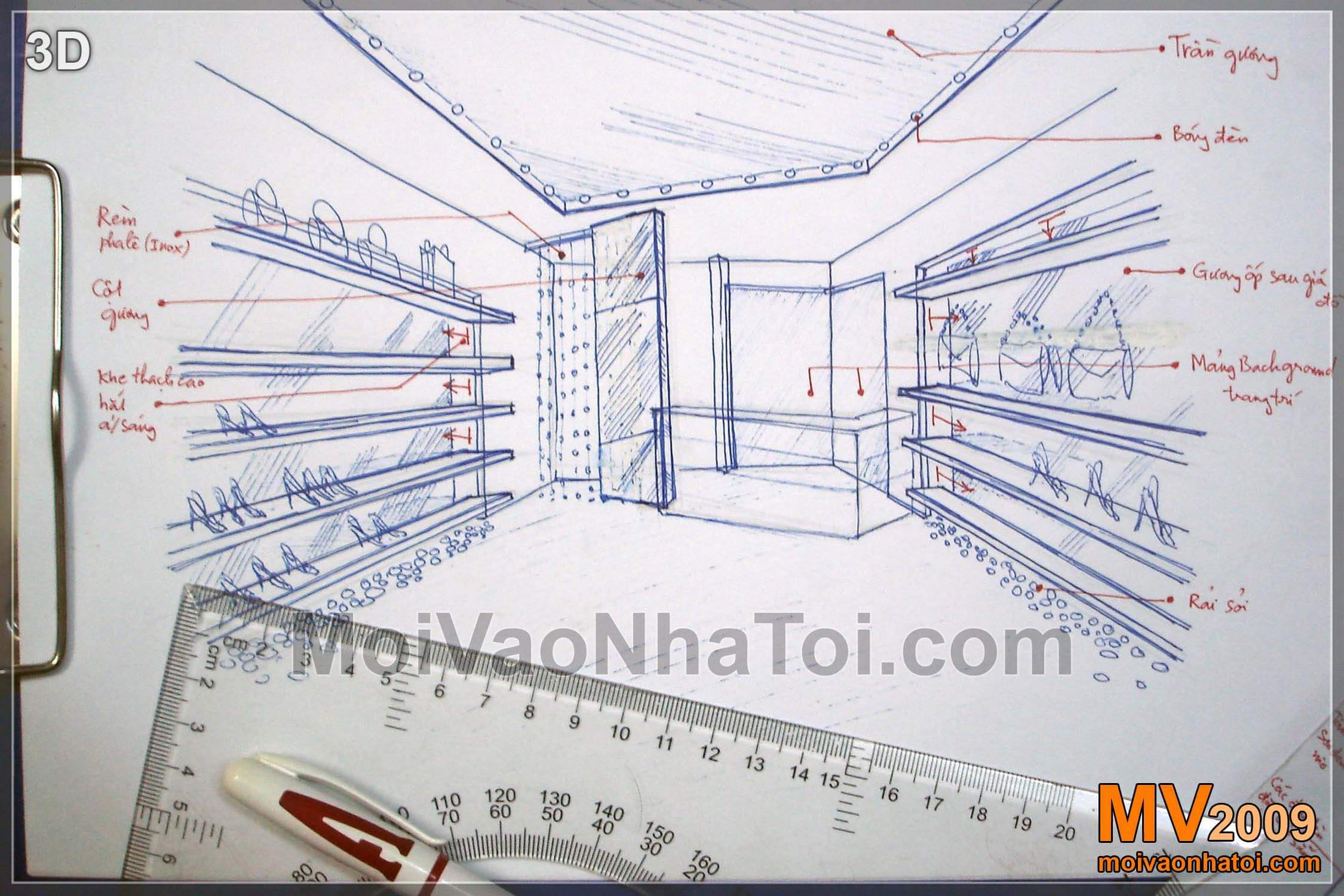 Thiết kế cửa hàng thời trang nhỏ 10m2 Xshop tại Hà Nội