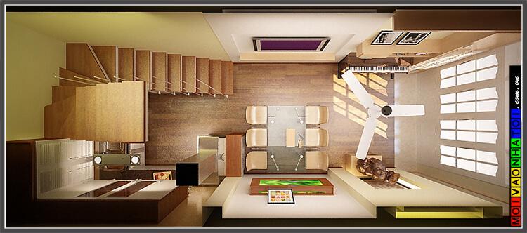 Thiết kế mặt bằng nội thất nhà phố tầng 1