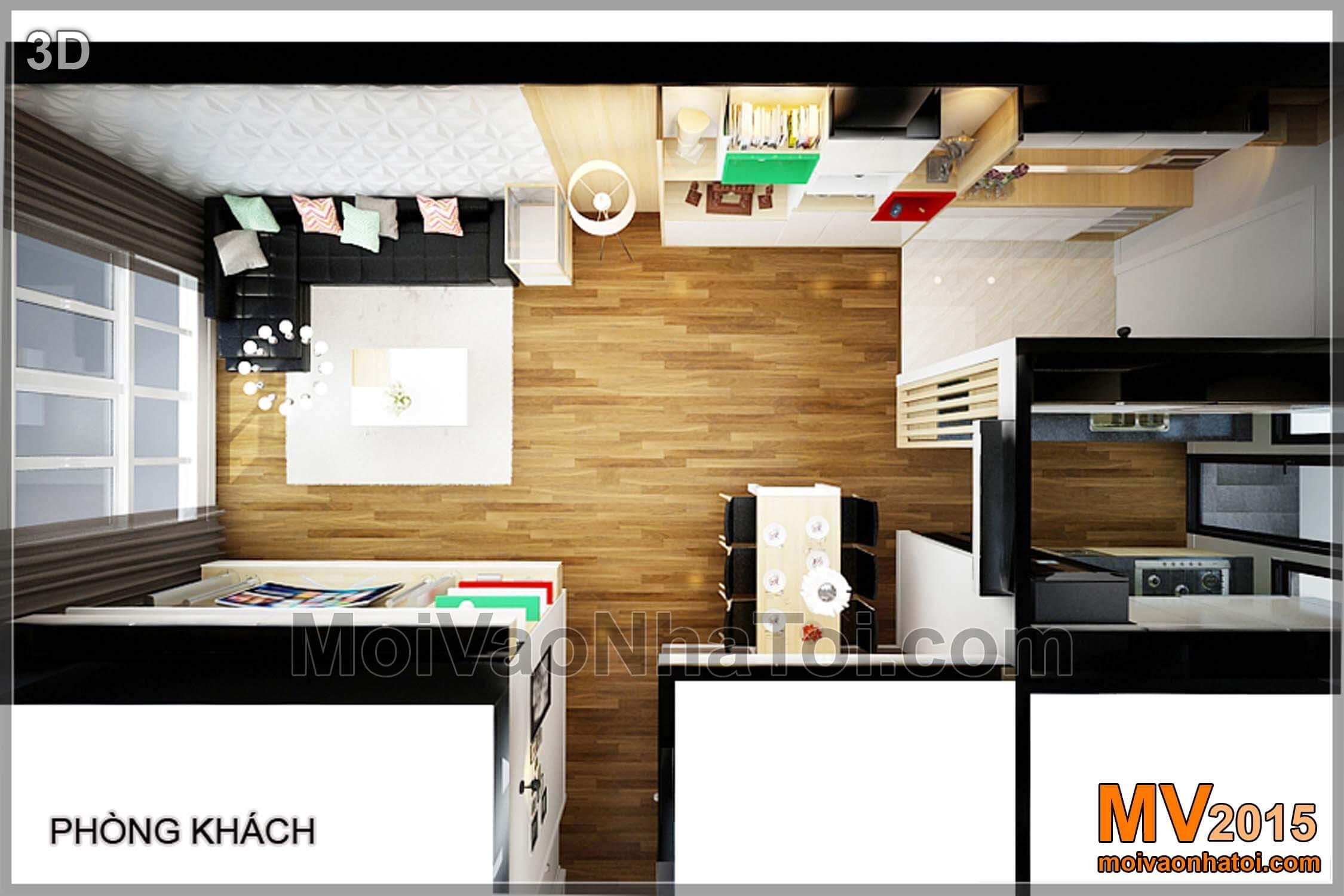 Mặt bằng 3D phòng khách, bếp
