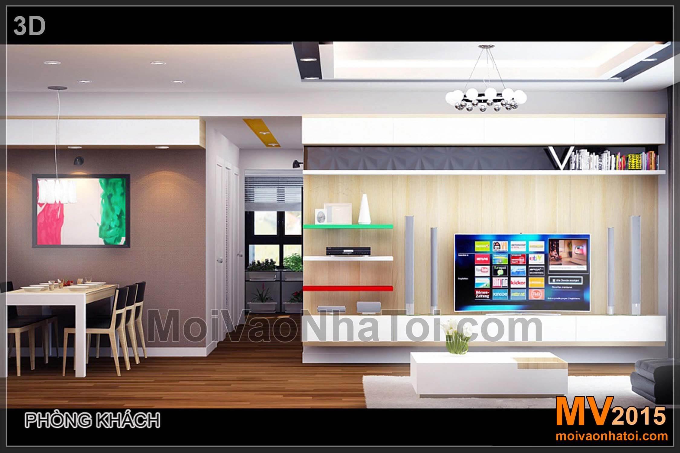 Mảng tường TV bản thiết kế 3D