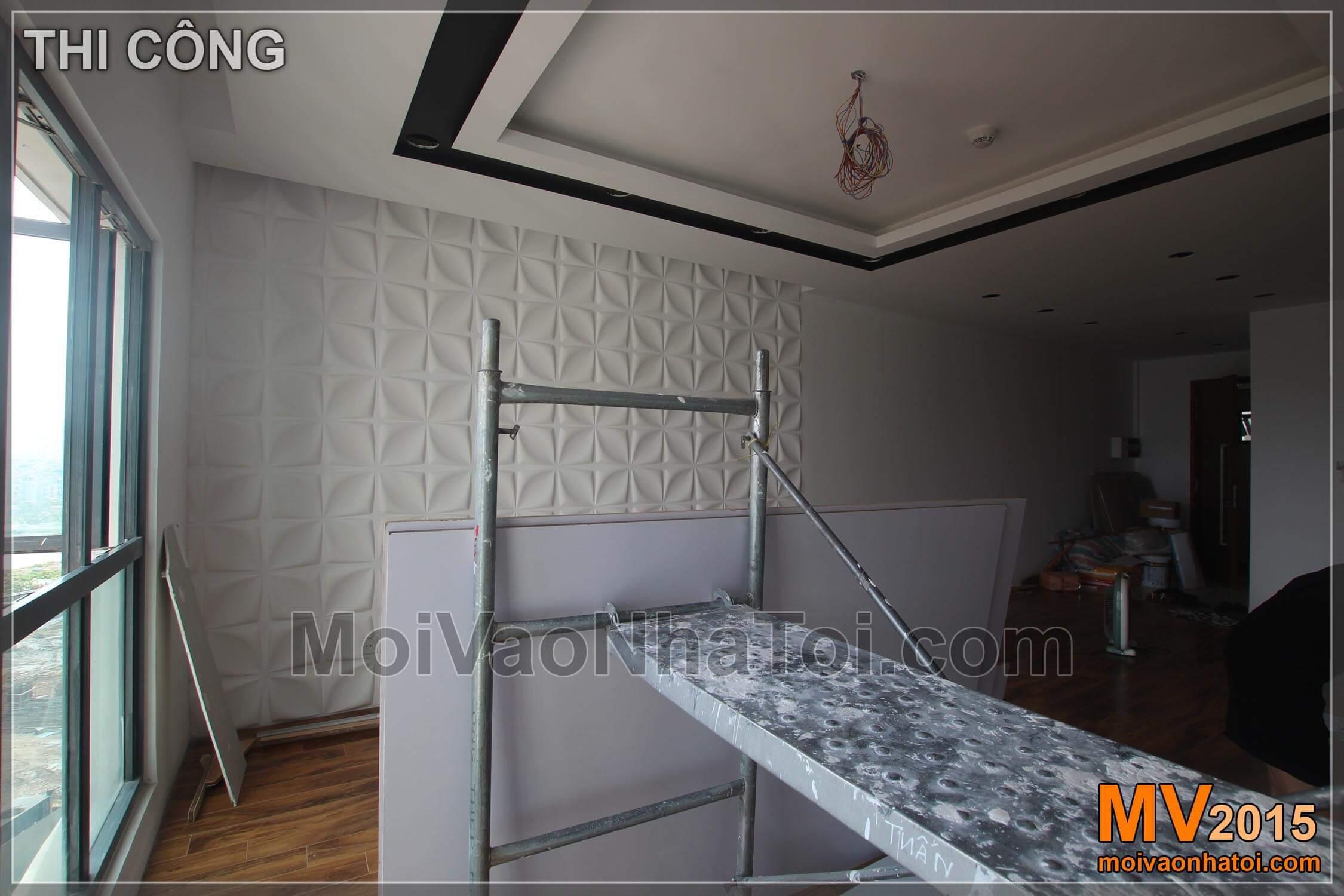 Quá trình thi công mảng tường sau lưng sofa