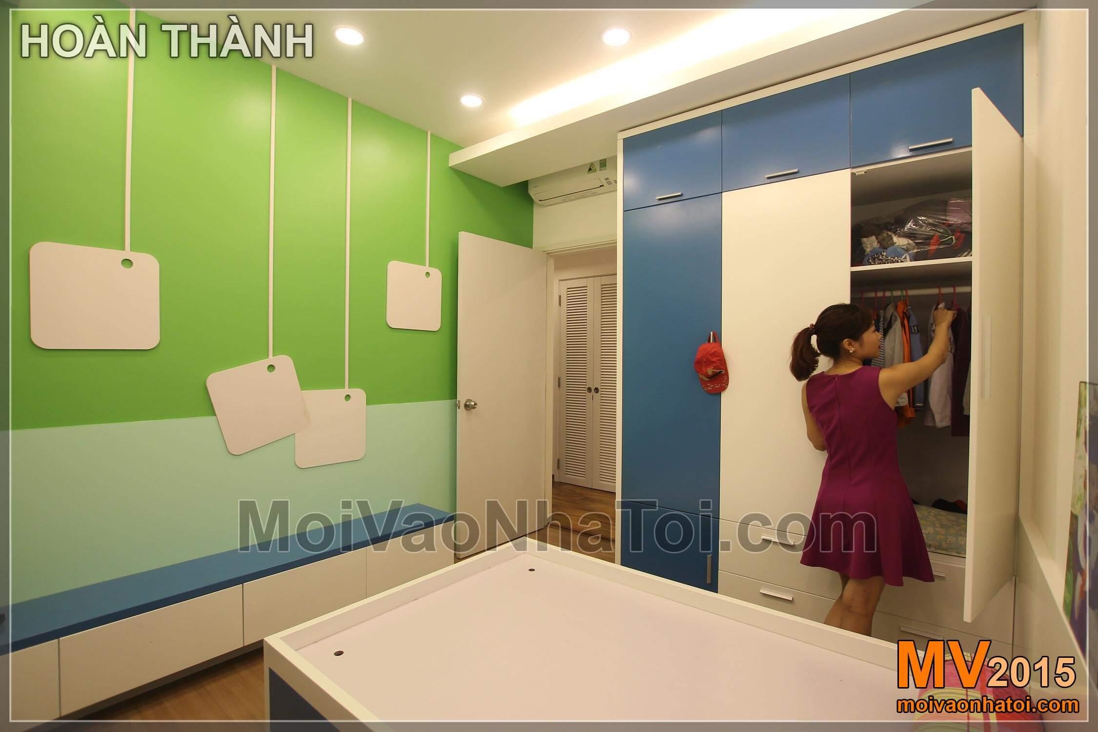 Để cuối cùng là phòng ngủ trẻ em tông màu xanh sinh động
