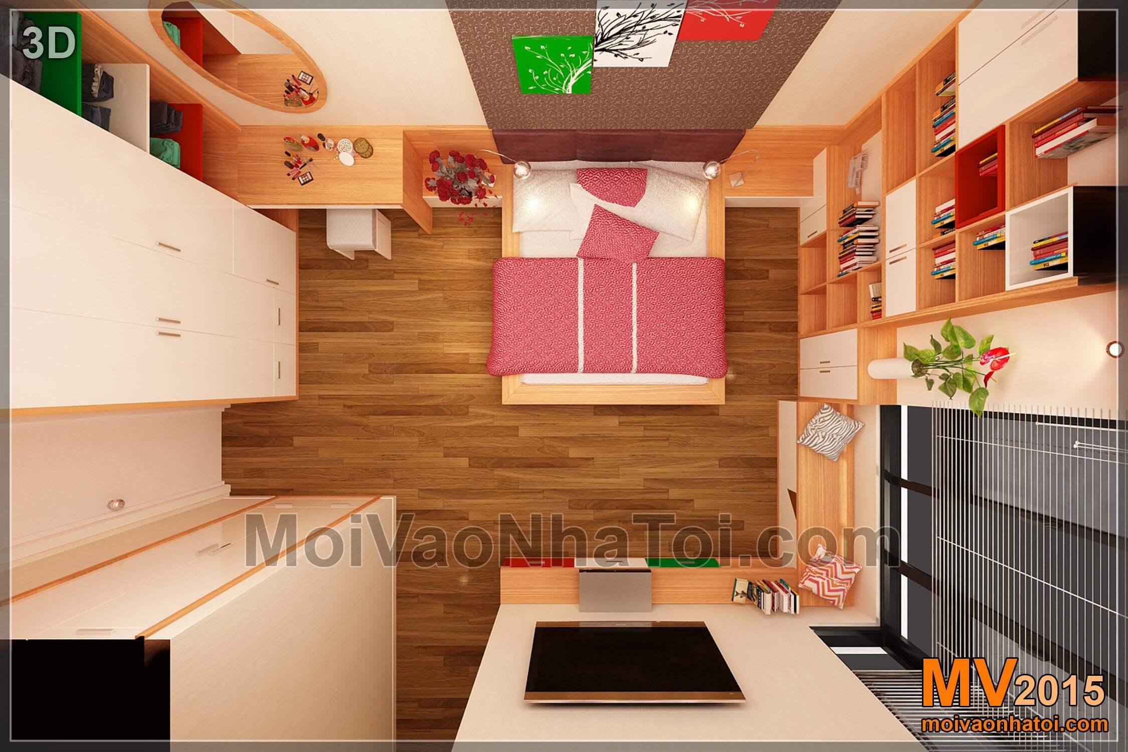 Mặt bằng 3D phòng ngủ bố mẹ