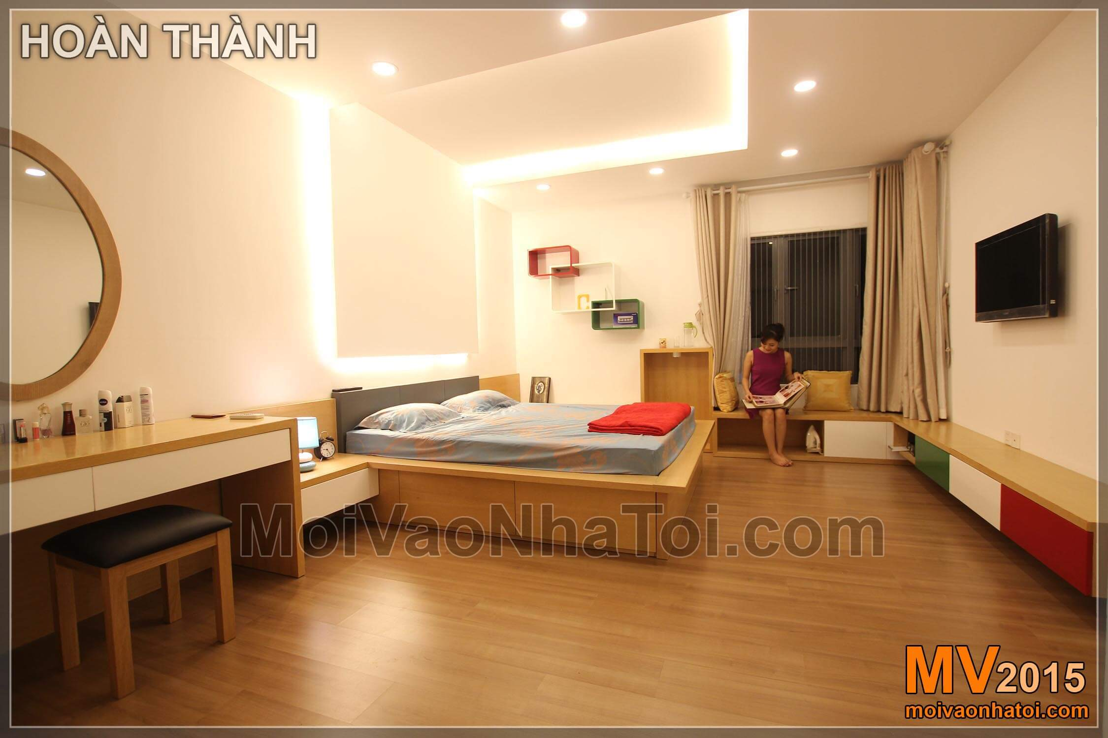 Phòng ngủ master hoàn thiện với nhiều góc ngồi sinh động