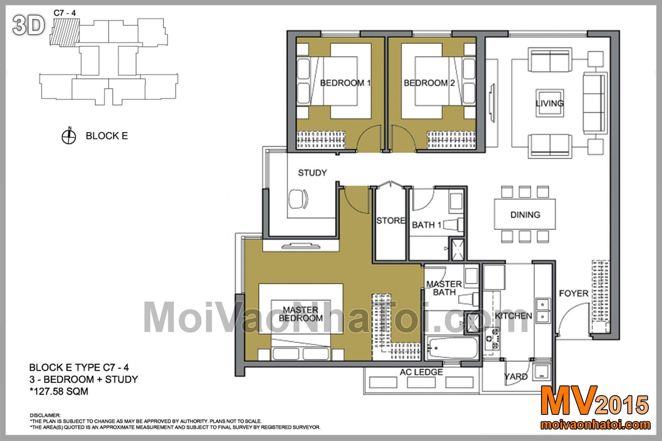 Mặt bằng căn hộ 127.58m2 Mulberry Lane E