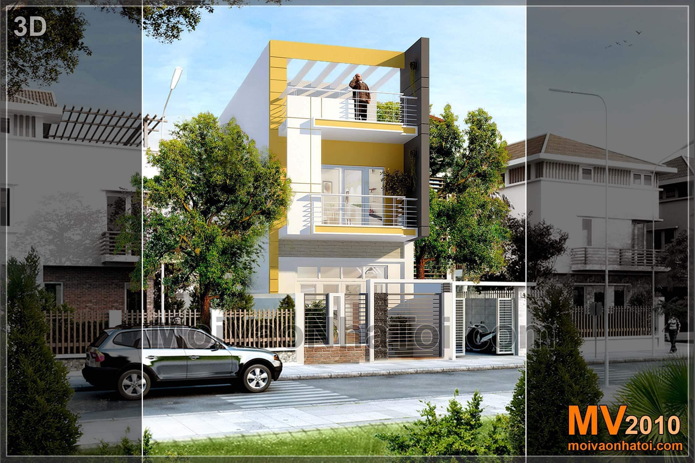 Thiết kế nhà phố 3 tầng x 70m2 mặt tiền đẹp
