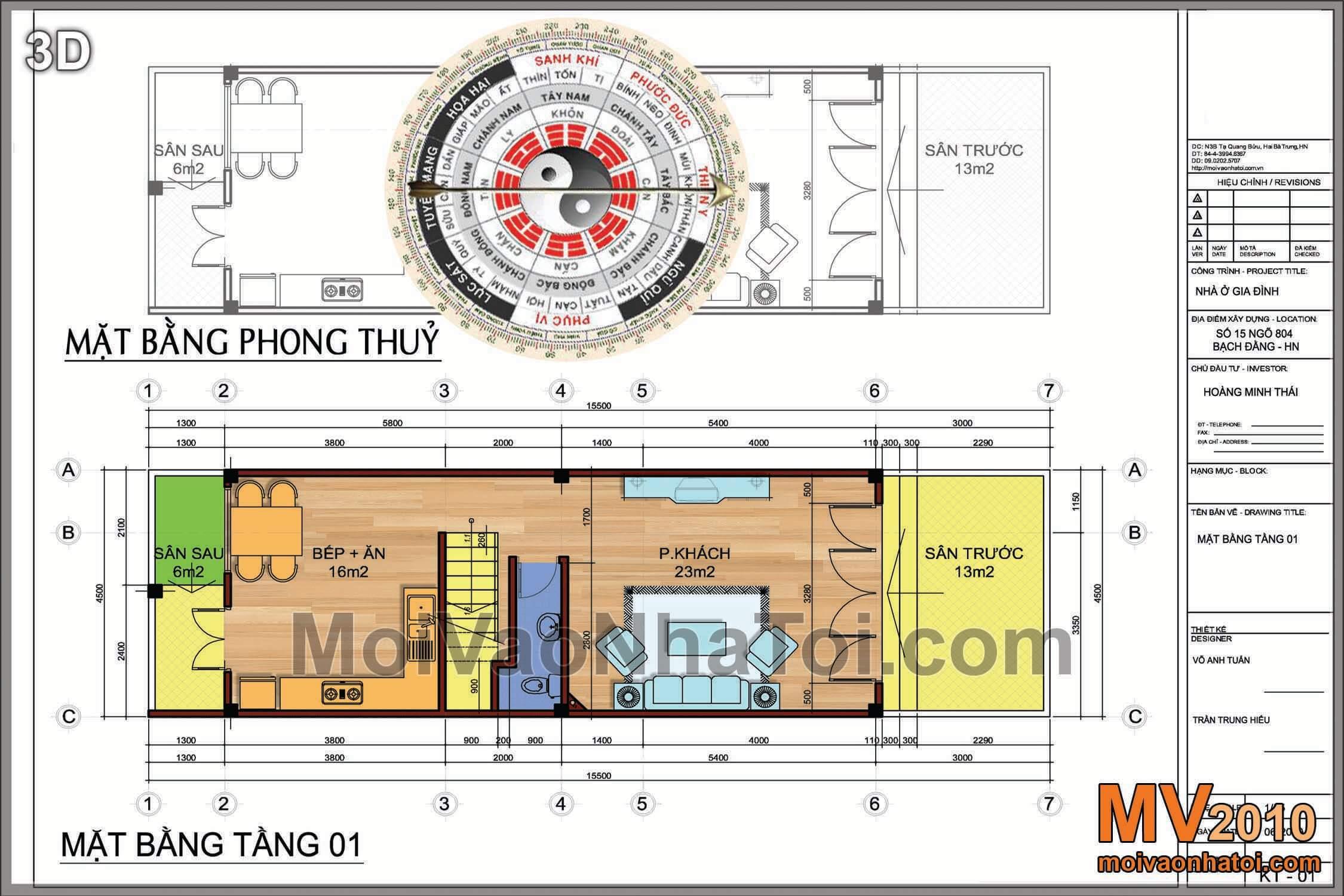 Phương án thiết kế nhà phố - tầng 1 & phân tích bố trí mặt bằng theo phong thủy