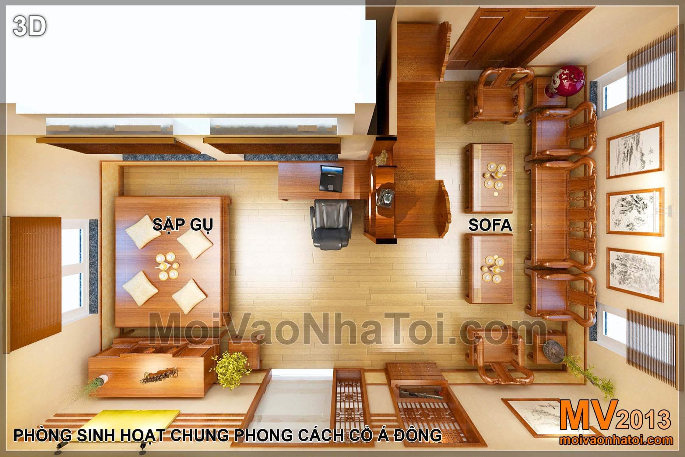 Mặt bằng biệt thự Việt Hưng BT - nội thất tầng 2 - phòng sinh hoạt chung