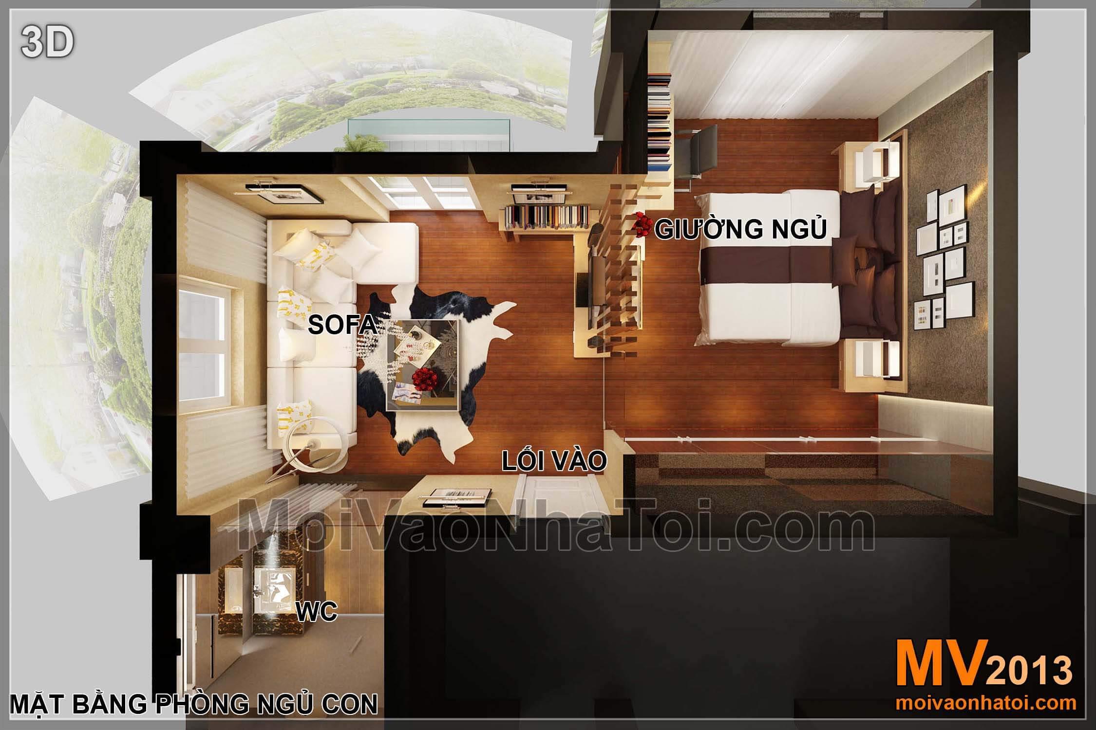 Mặt bằng biệt thự Việt Hưng BT - nội thất tầng 3 - phòng ngủ con trai