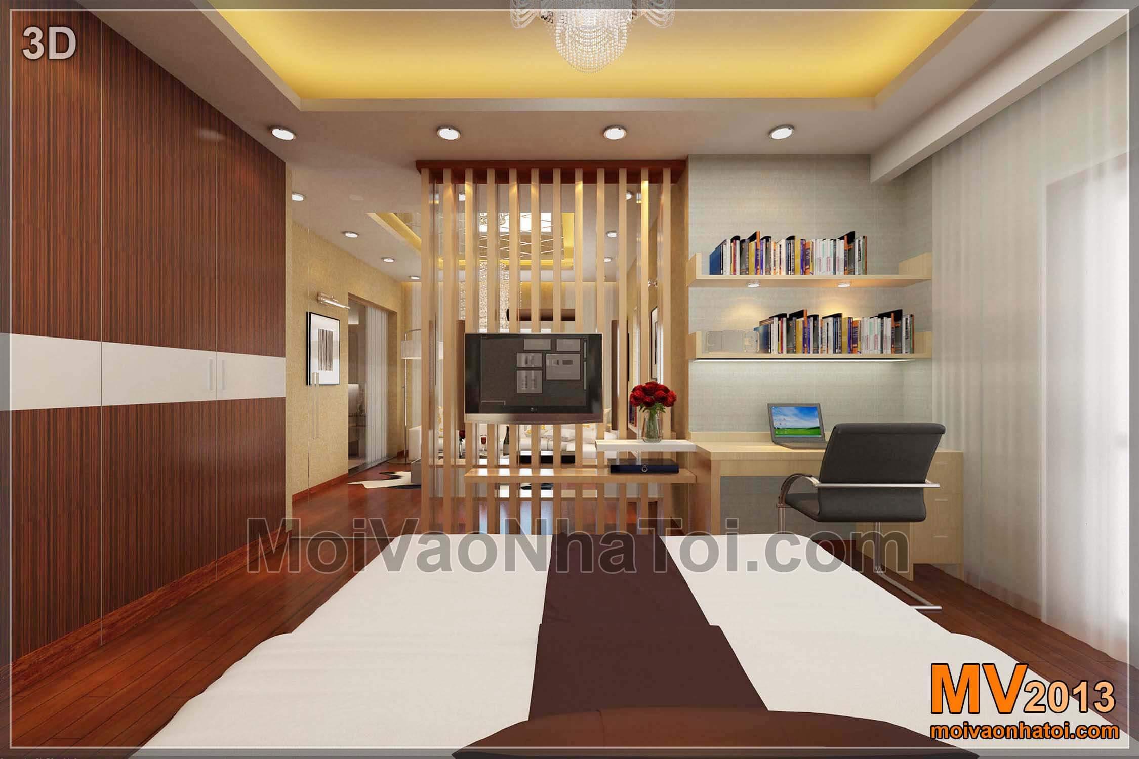 3D thiết kế tầng 3 biệt thự - phòng ngủ con
