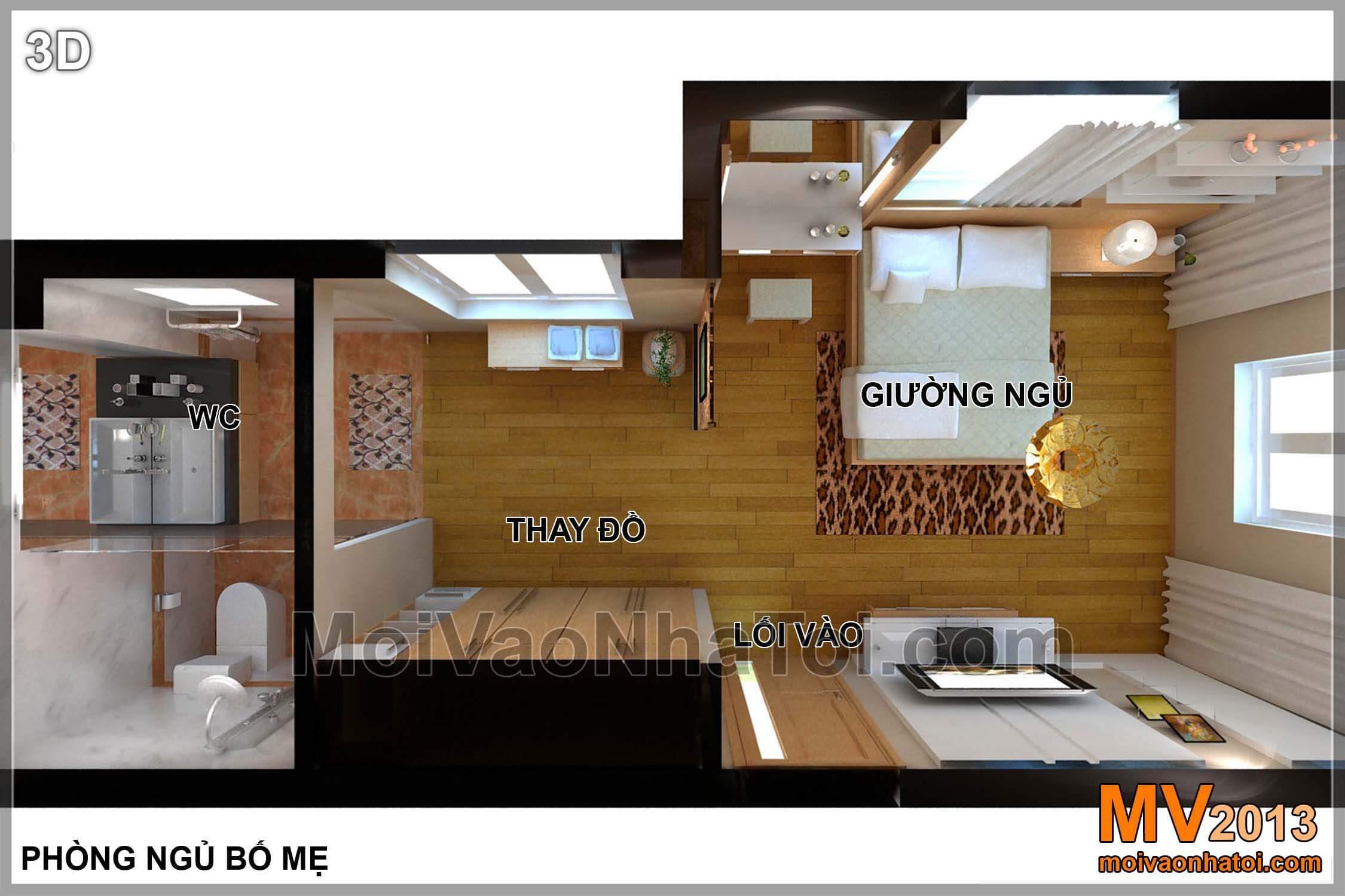 Mặt bằng biệt thự Việt Hưng BT - nội thất tầng 2 - phòng ngủ bố mẹ