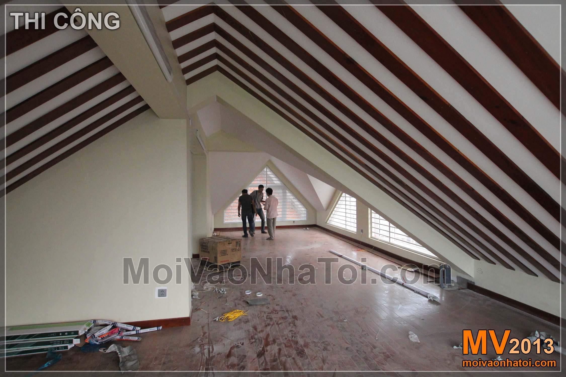 Tầng áp mái căn biệt thự - quá trình thi công
