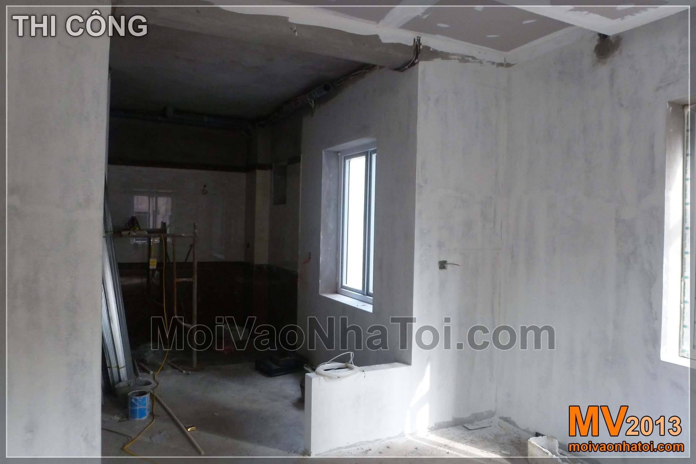 Hình ảnh quá trình thi công biệt thự - nội thất phòng ngủ