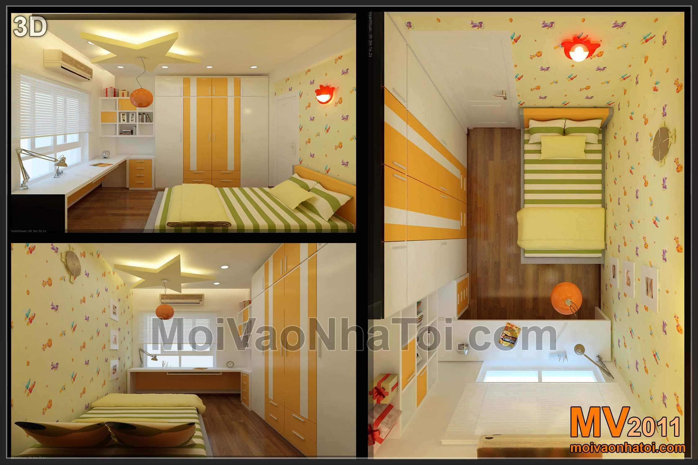 Thiết kế 3D nội thất phòng ngủ con