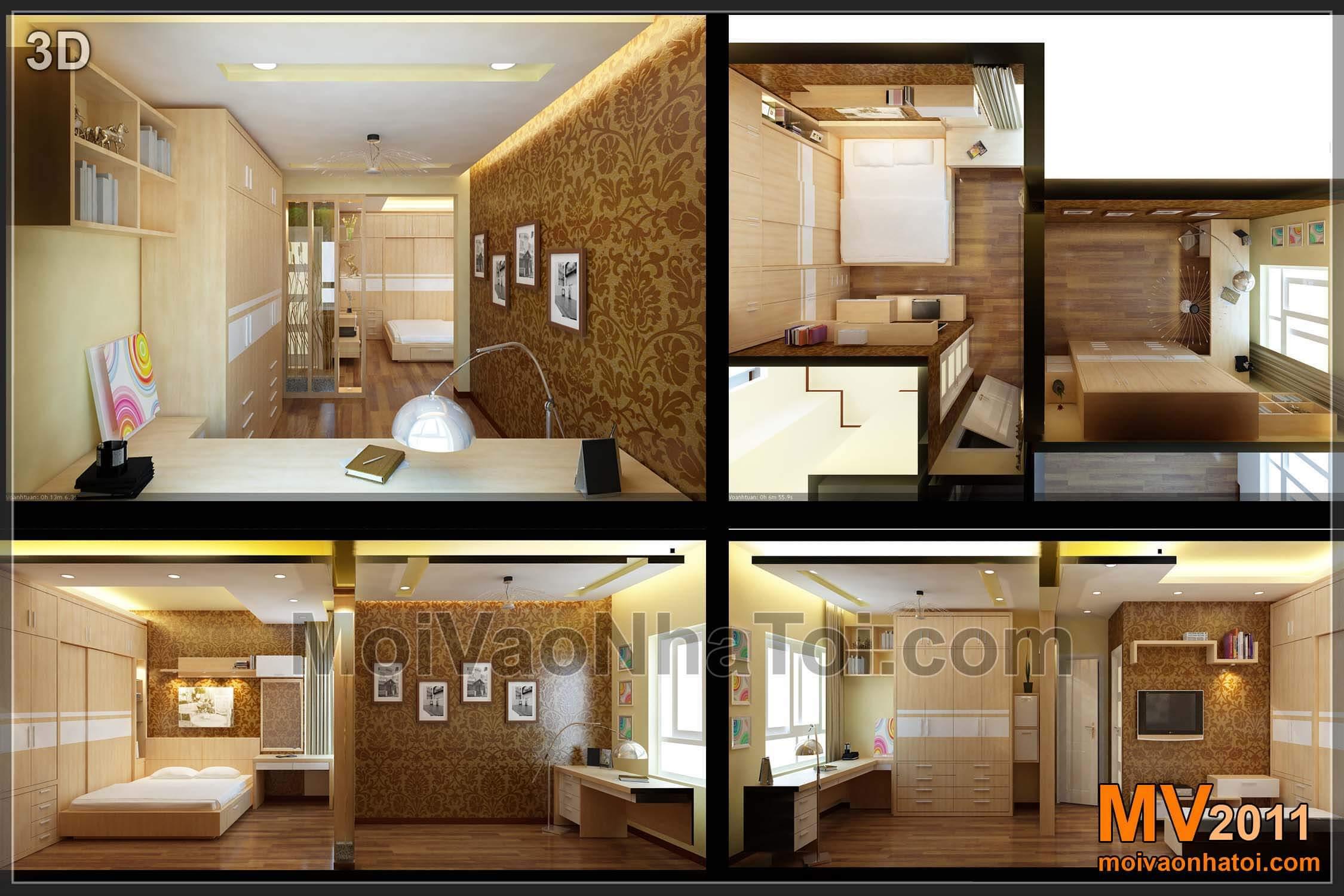Thiết kế 3D nội thất phòng ngủ bố mẹ