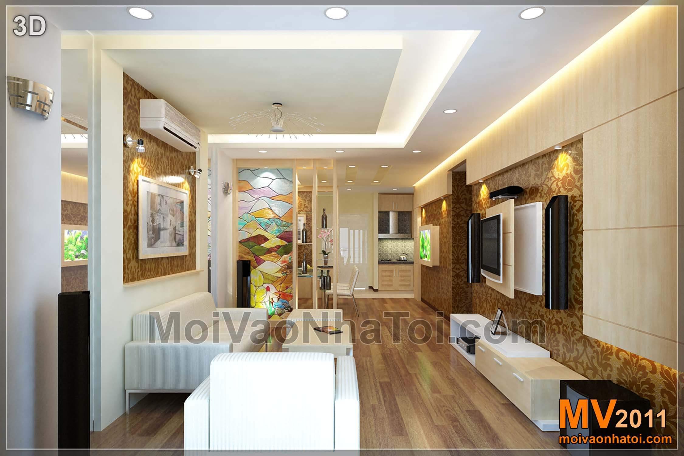 Bản vẽ 3D thiết kế nội thất - nhìn từ ban công vào nội thất phòng khách
