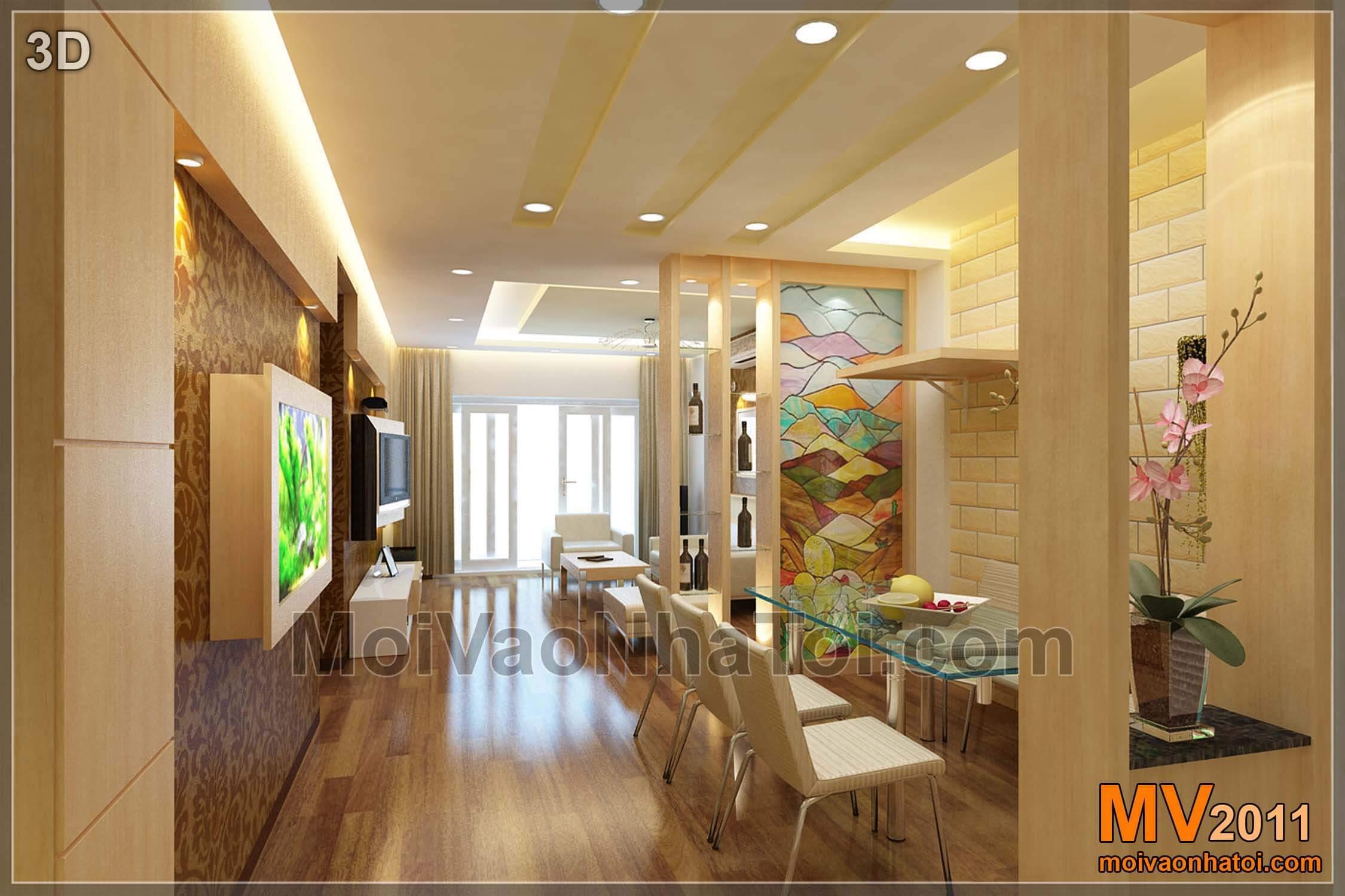 Bản vẽ 3D trang trí nội thất phòng khách