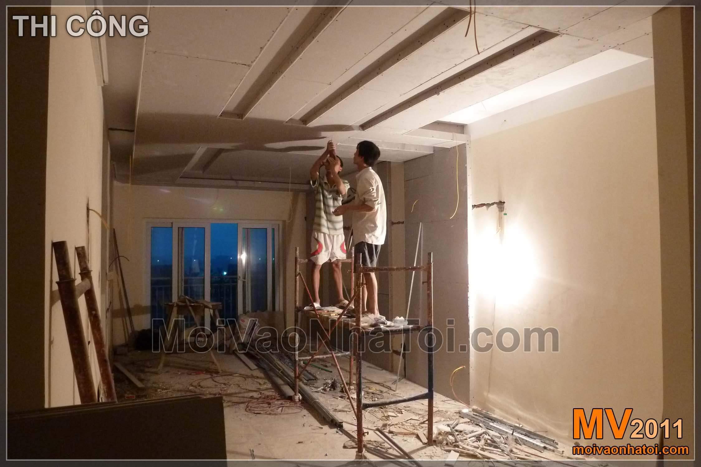 Quá trình thi công thạch cao trang trí phòng khách - phòng ăn