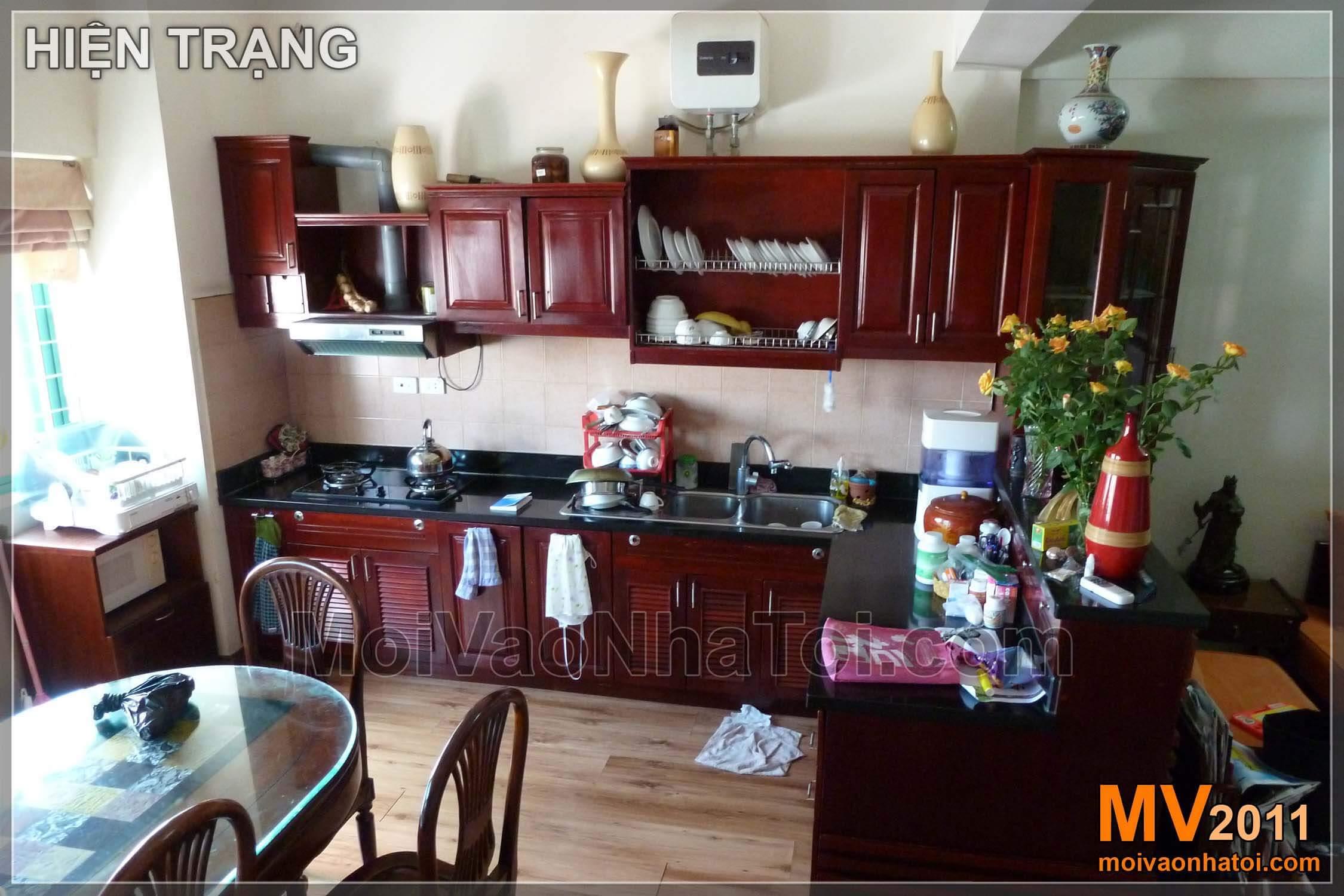 Hiện trạng và phối cảnh 3D tủ bếp