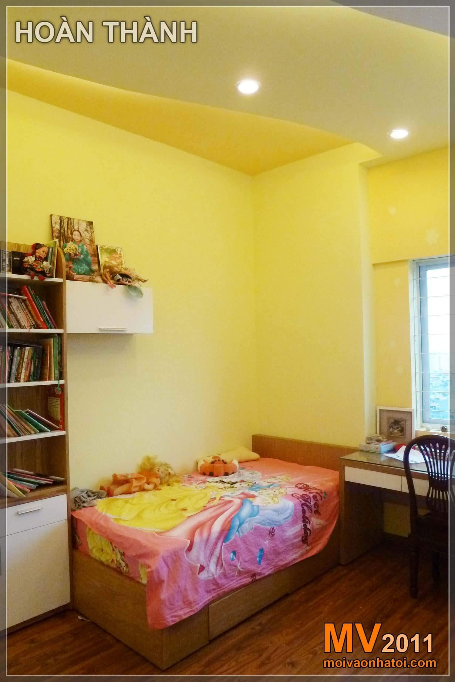 Phía giường con gái - hoàn thành, nội thất phòng ngủ đẹp hơn