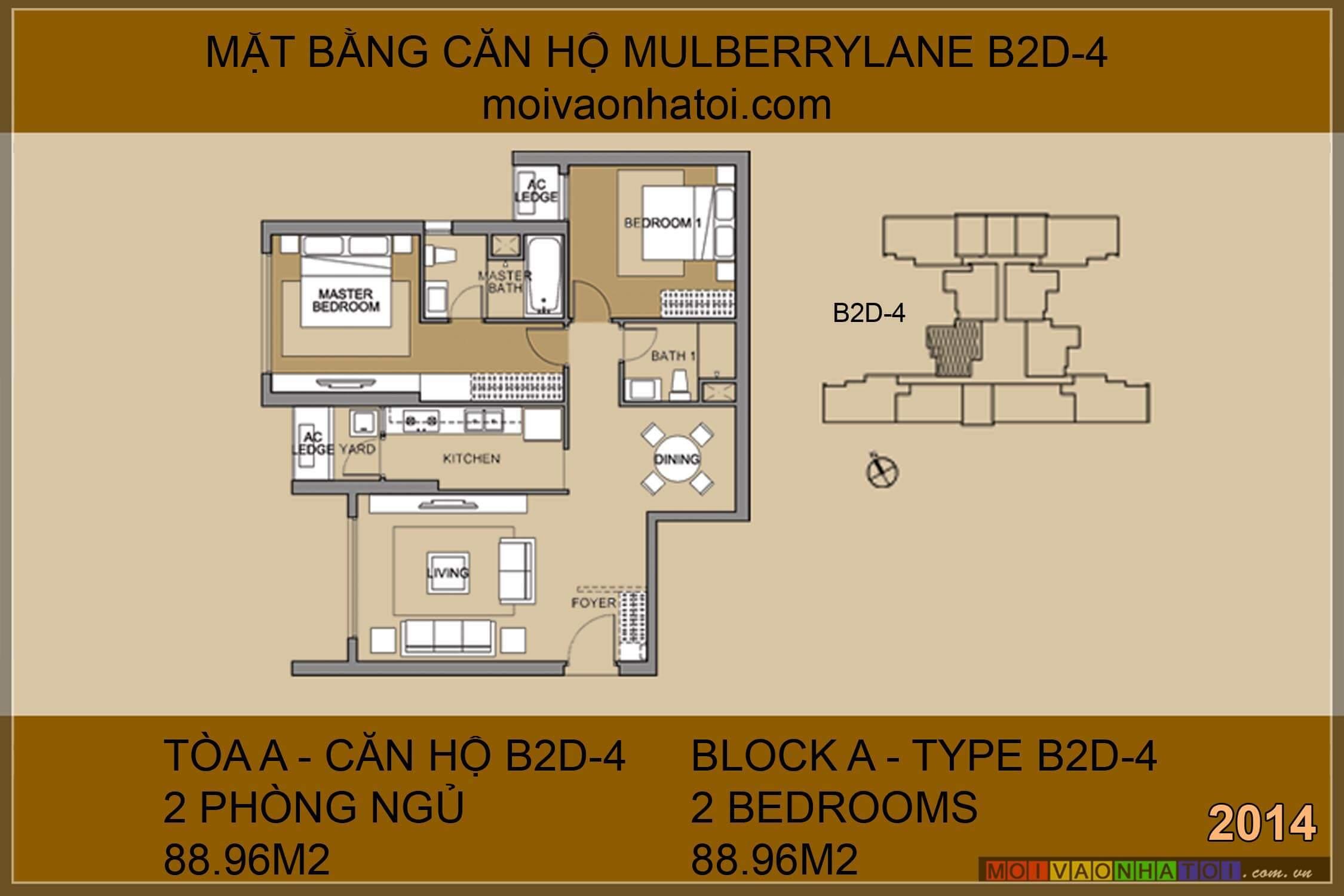 Mặt bằng chung cư Mulberry Lane Mỗ Lao căn hộ 88.96m2