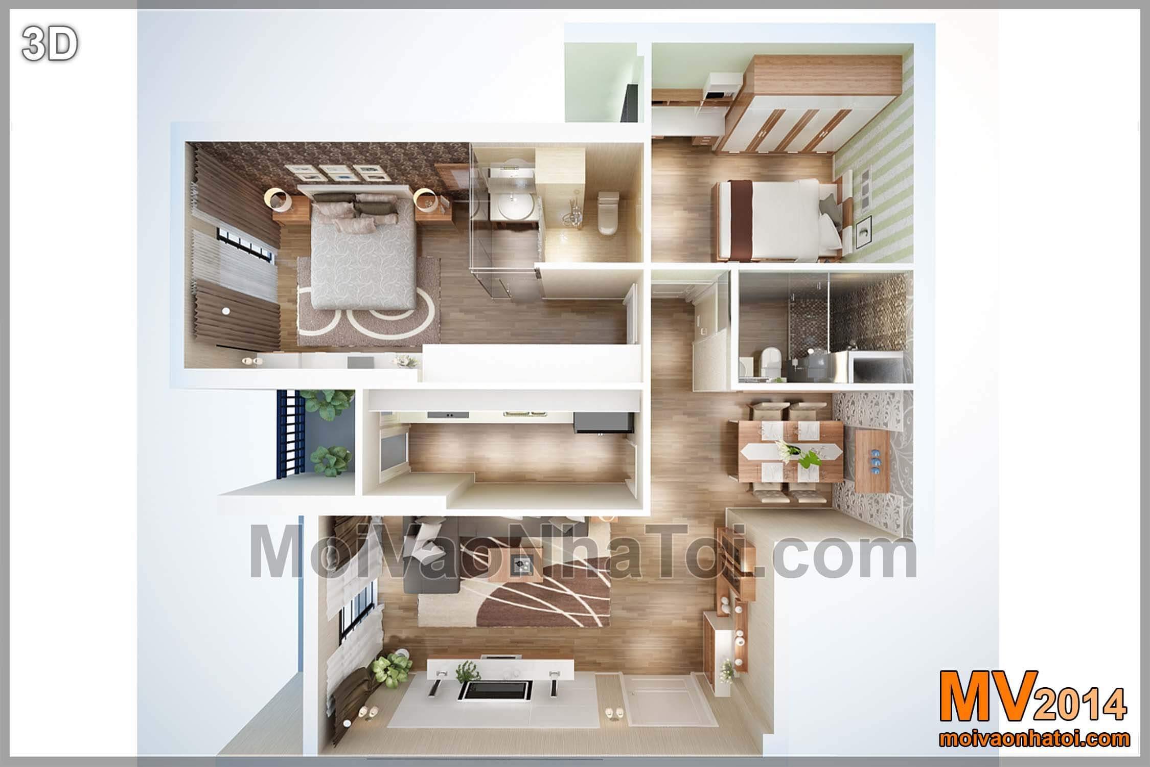 Thiết kế 3D tổng thể cả căn hộ