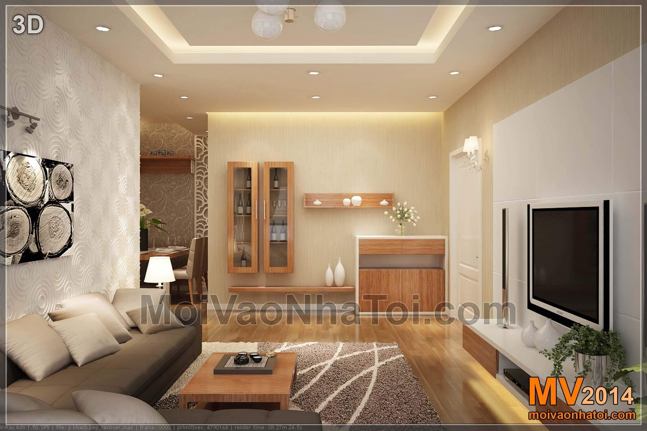 3D Nội thất phòng khách căn hộ