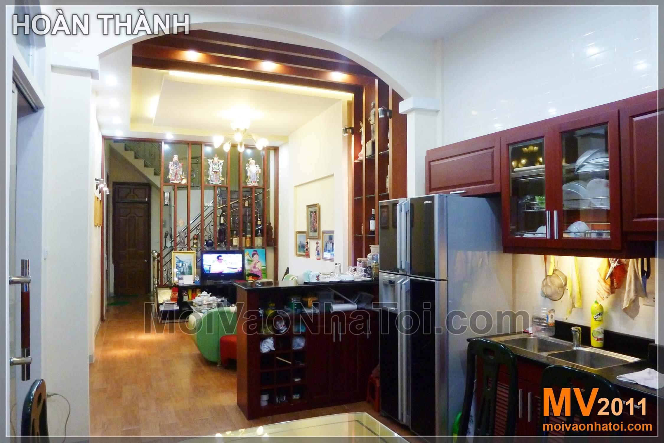 Hoàn thành, nội thất phòng khách liền bếp đẹp