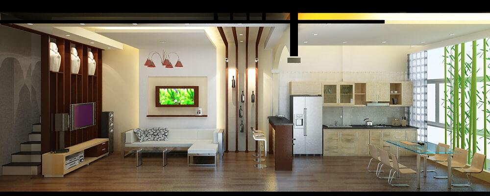 Mặt cắt 3D thiết kế phòng khách bếp