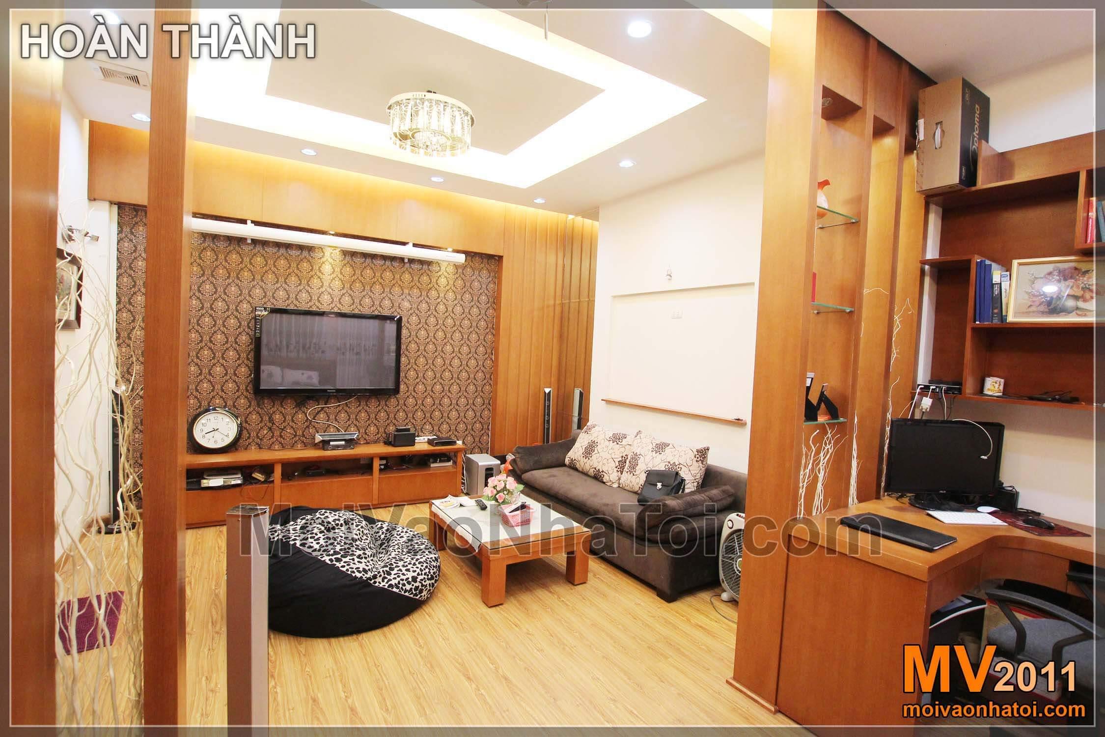 Thiết kế phòng ngủ đẹp nội thất gỗ 29m2 liền với phòng khách