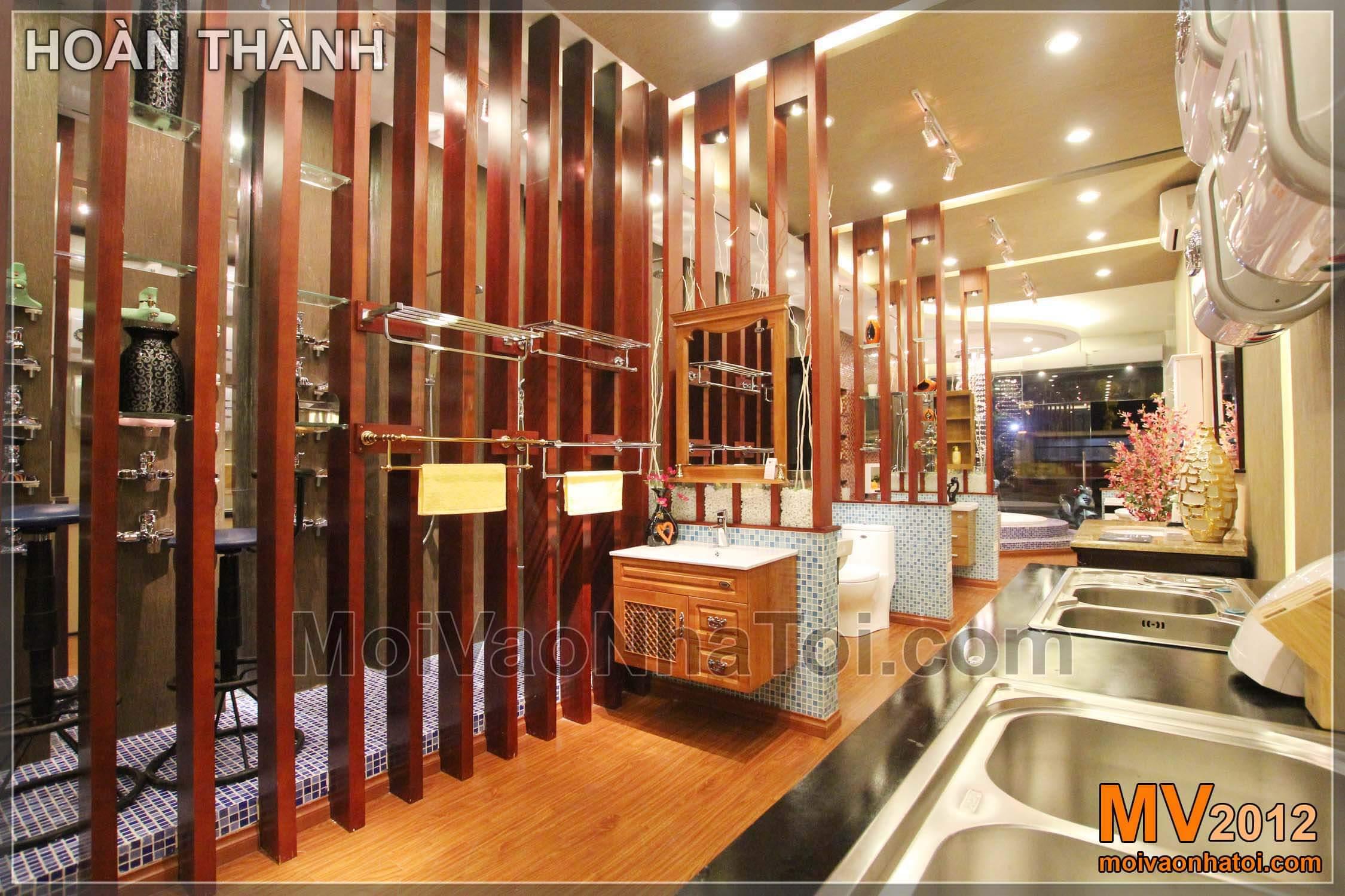 Nội thất gỗ trưng bày thiết bị vệ sinh
