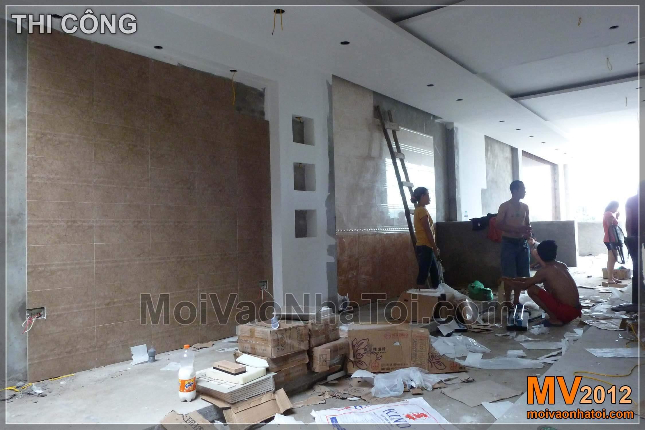 Quá trình thi công tầng 2 cửa hàng trưng bày