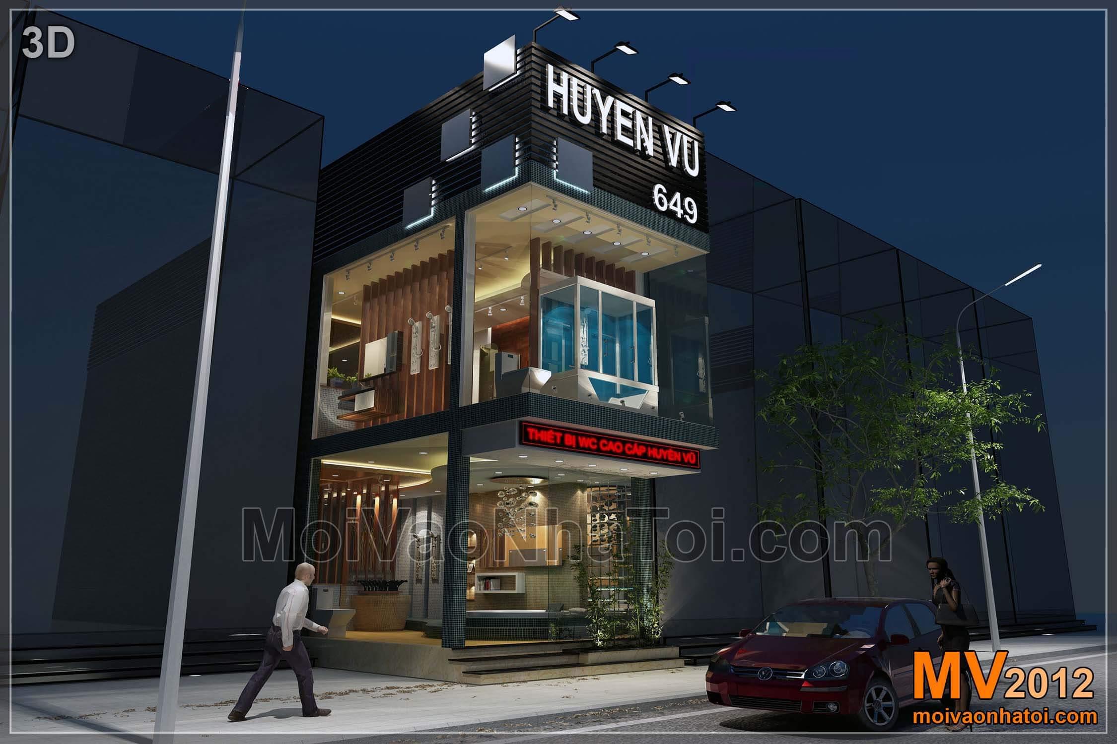 Phối cảnh 3D thiết kế Showroom Tanzi Huyền Vũ